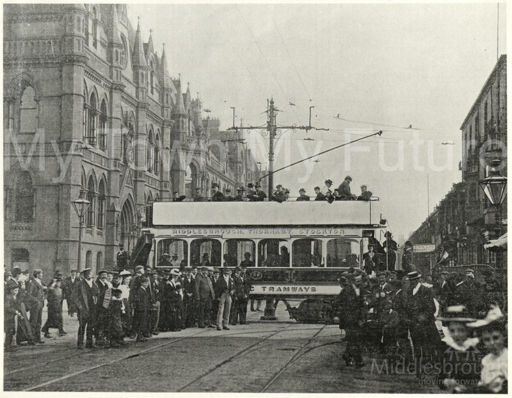 Tram crossing at Corporation Road (1910)