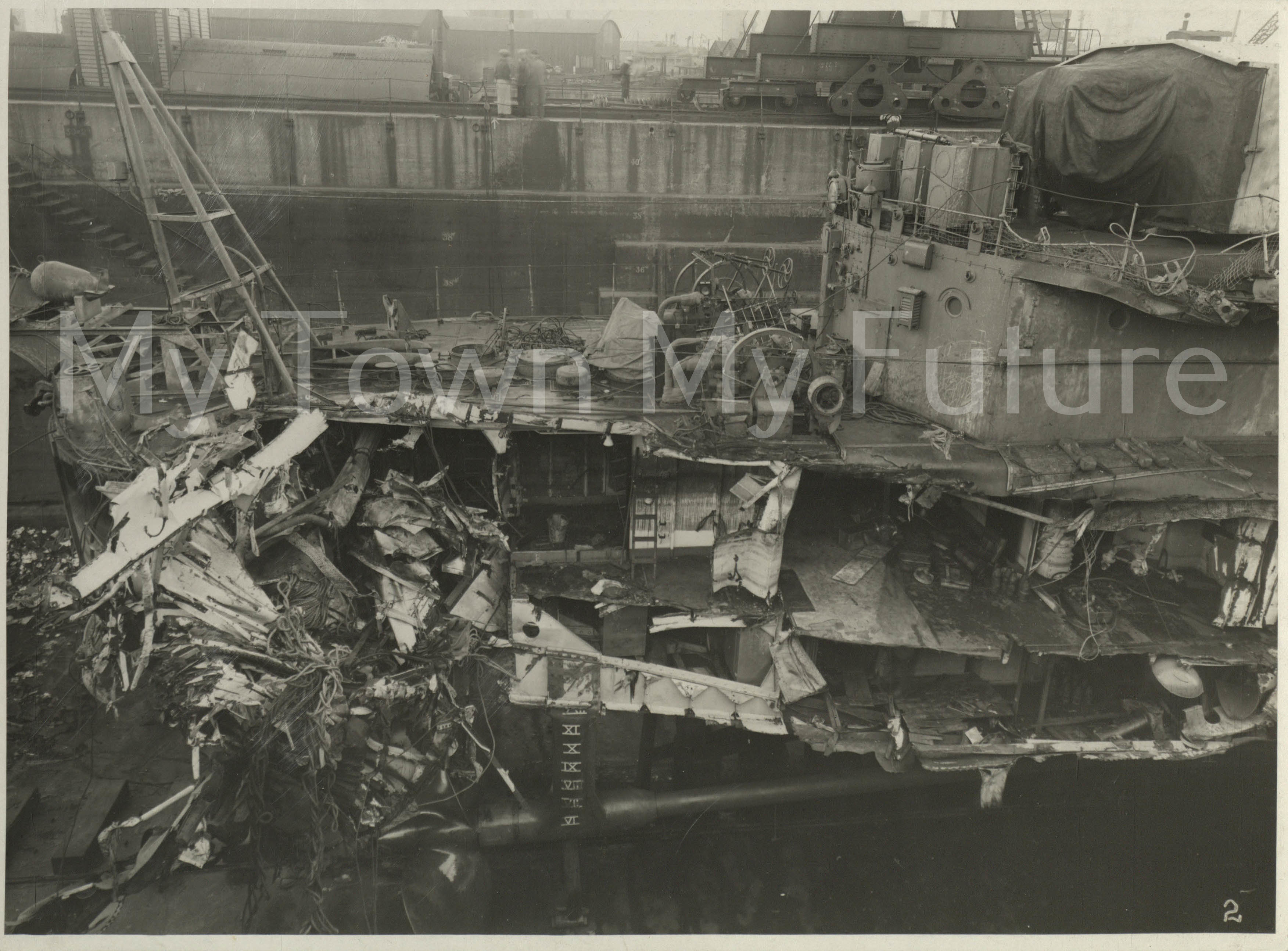 Smith's Dock Ships - HMS Javelin - WWII repair collision damage