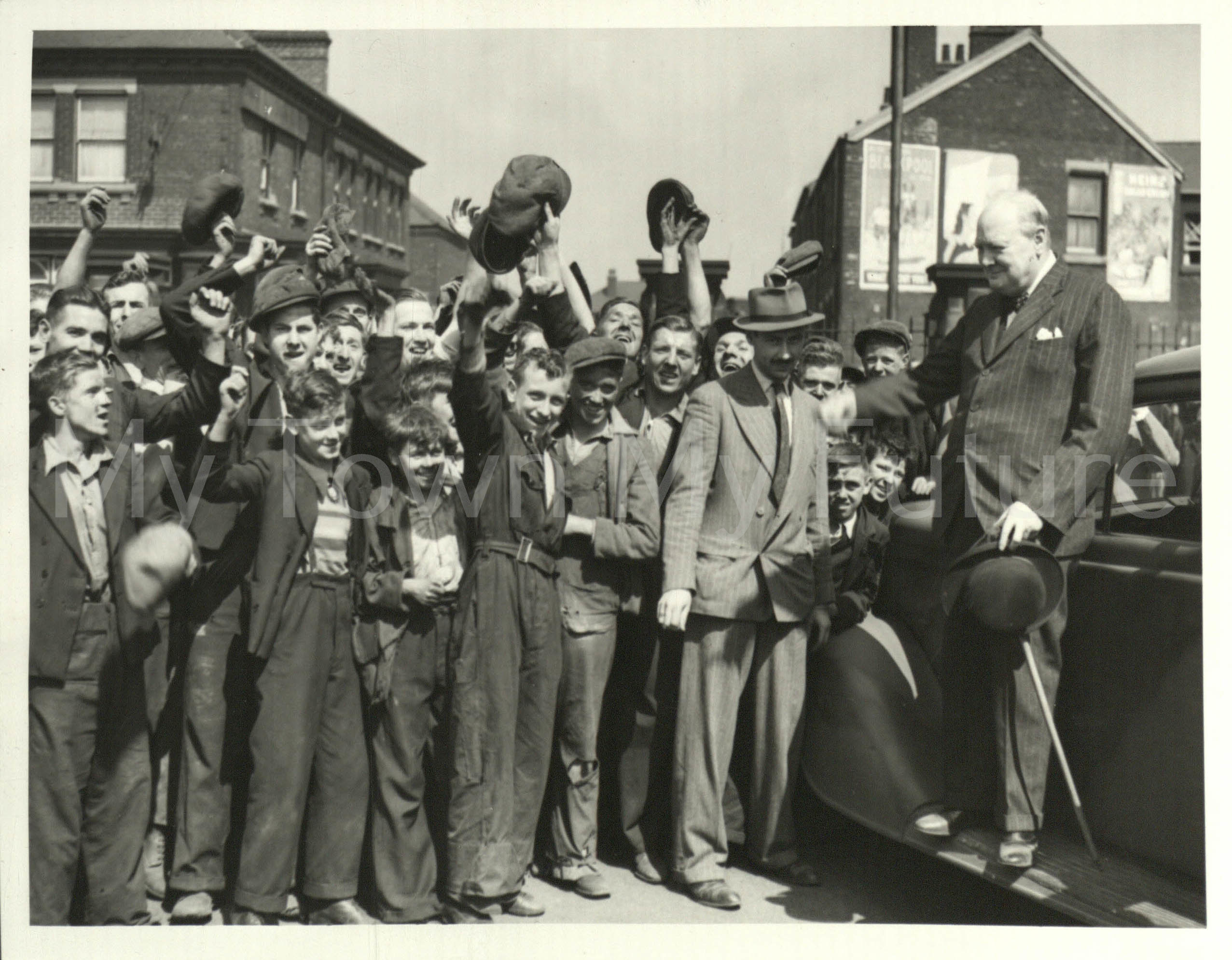 PM Winston Churchill - Shipyard workers Cheerrng_31st July 1940 - Visting Shipyard and Coastal Defences in North East. Imperial War Museum
