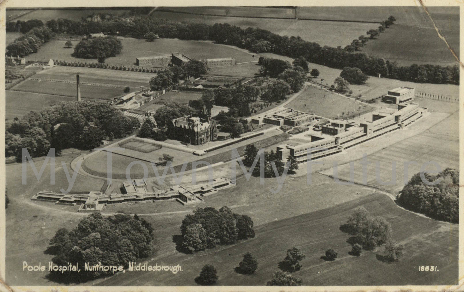 Aerial view of Poole Hospital site (undated)