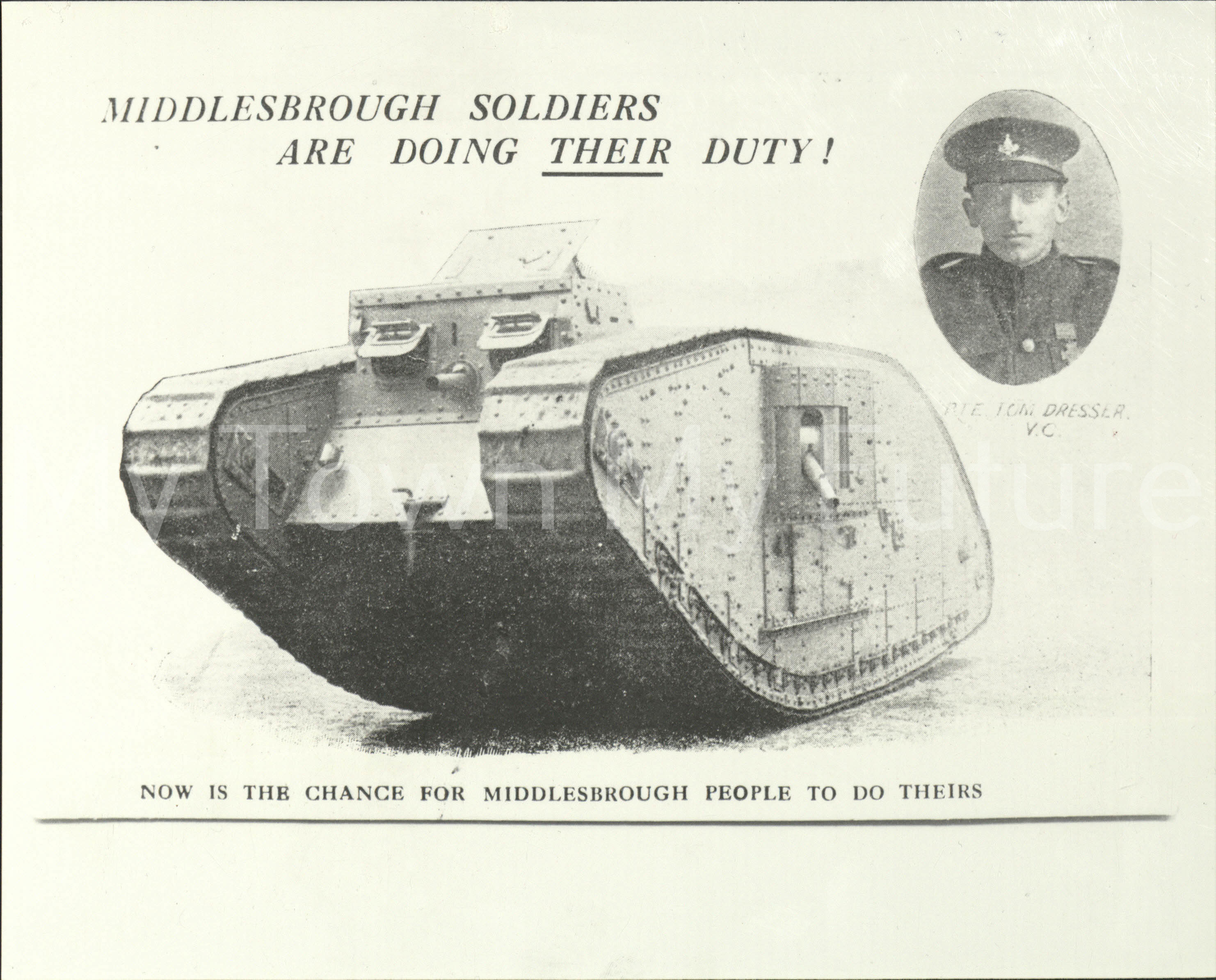 World War 1 Picture of Tom Dresser and a Tank.