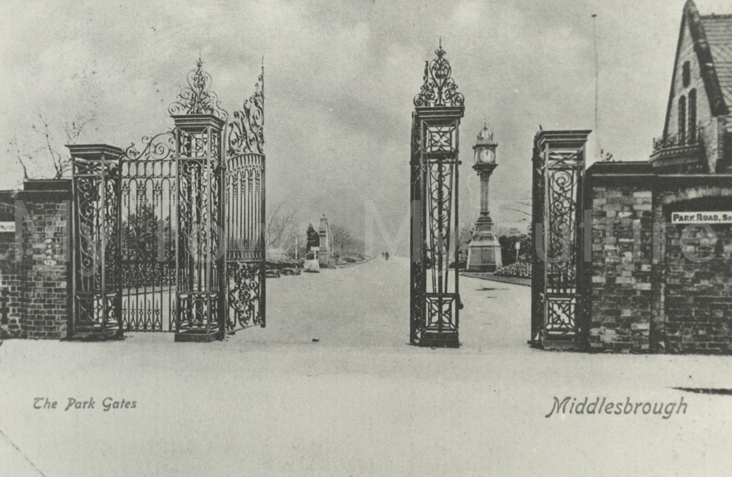 Albert Park - Postcard of the park gates, Postmarked - 31st August 1903 - Mrs Hunter, Department of Planning - Cleveland County Council