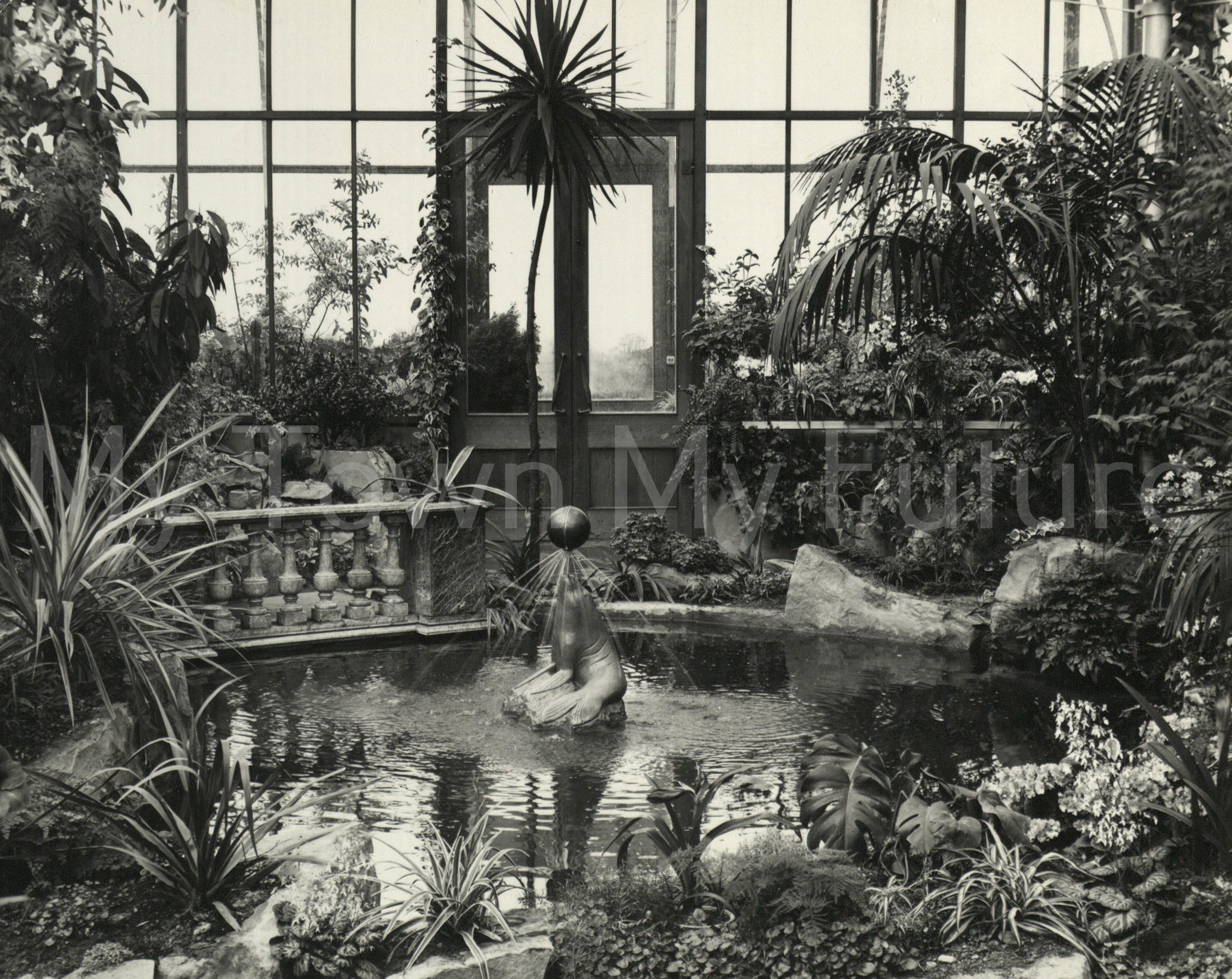 Stewart Park - Conservatory view, 18th April 1963, Borough Engineers Department
