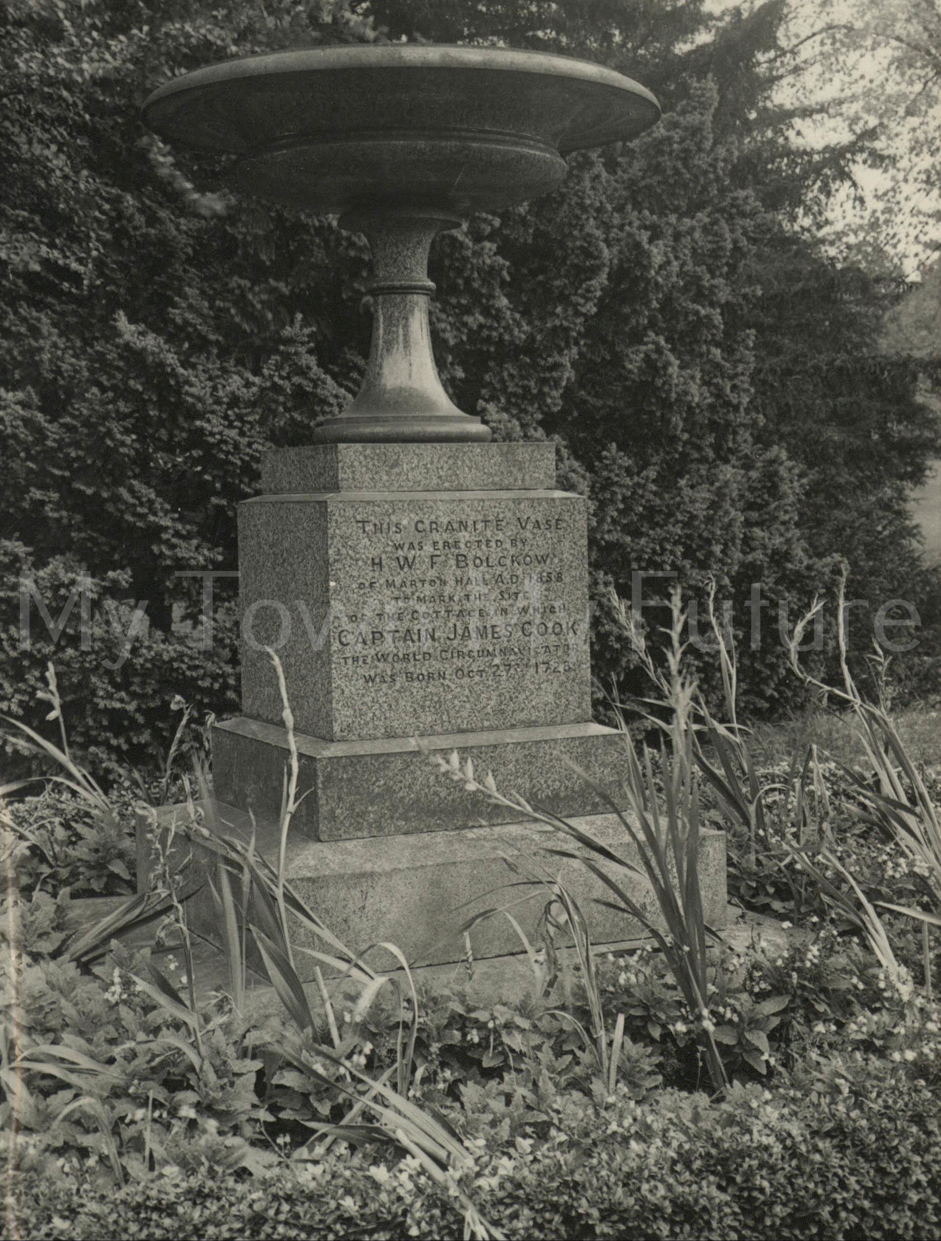 Stewart Park - Granite Vase marking the spot of James Cook's Cottage, Evening Gazette