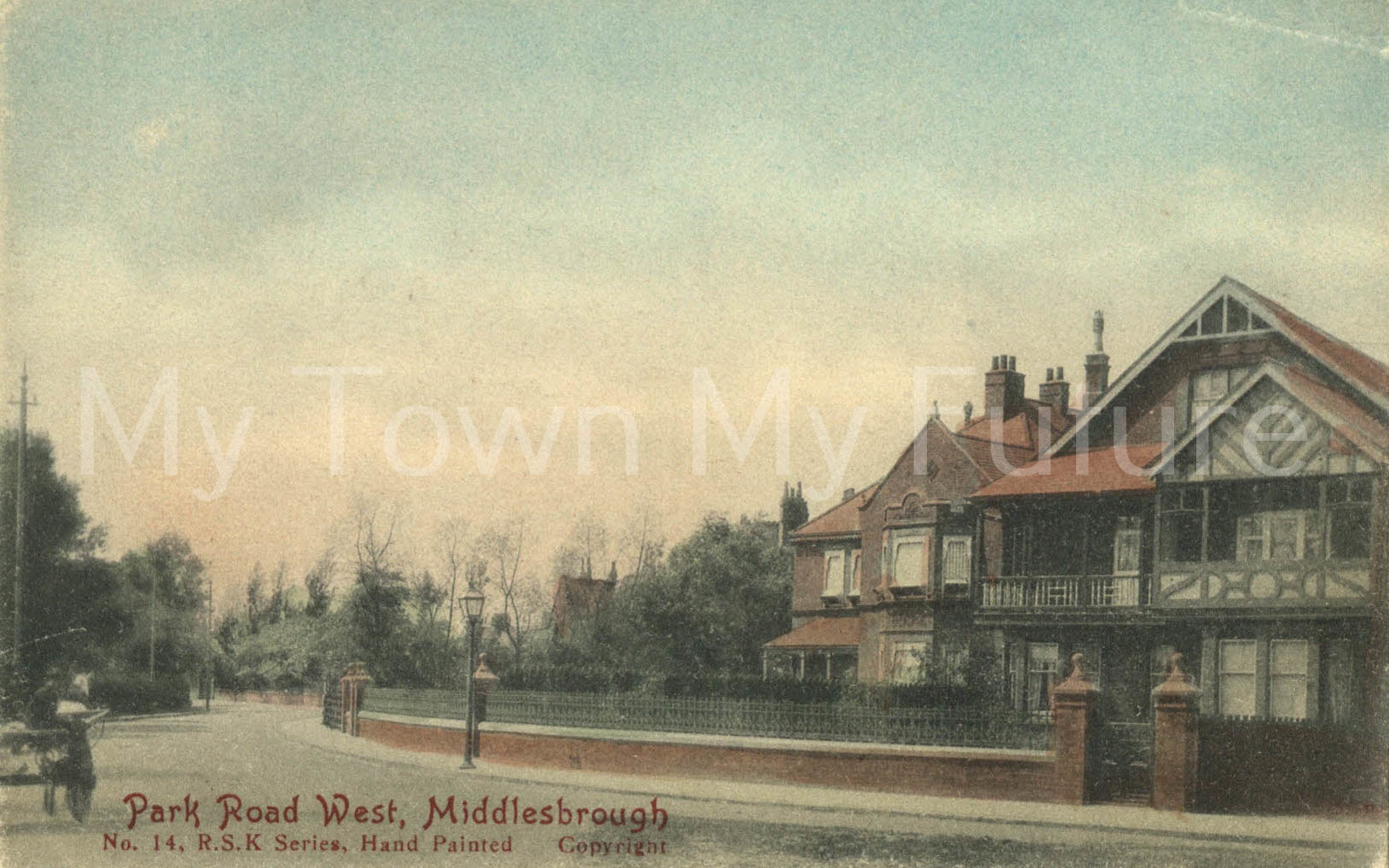 Postcard style print of Park Road West, Middlesbrough