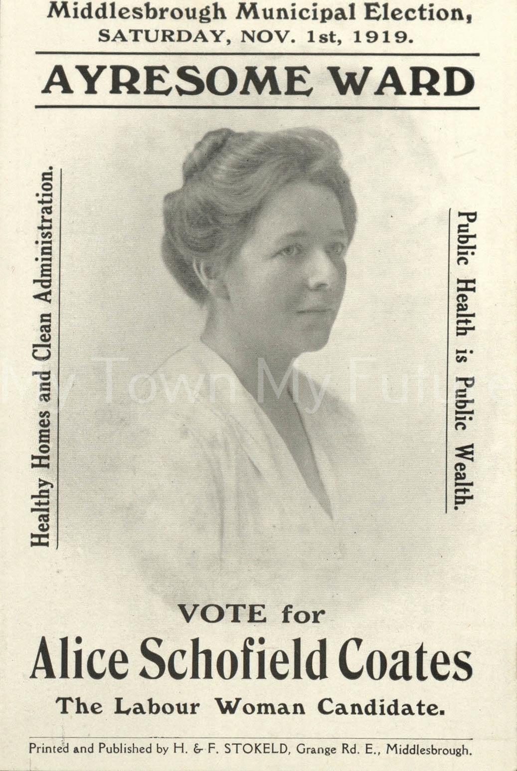 Alice Schofield Coates Election leaflet