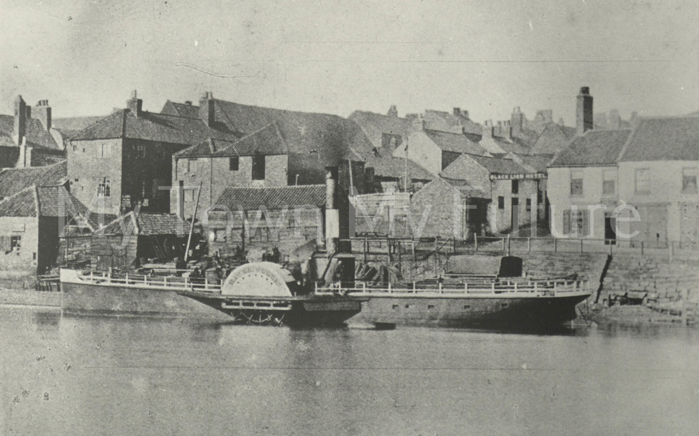 Paddle Steamer - River Queen, 1861 - Showing Black Lion Hotel - Department of Planning, Cleveland County Council
