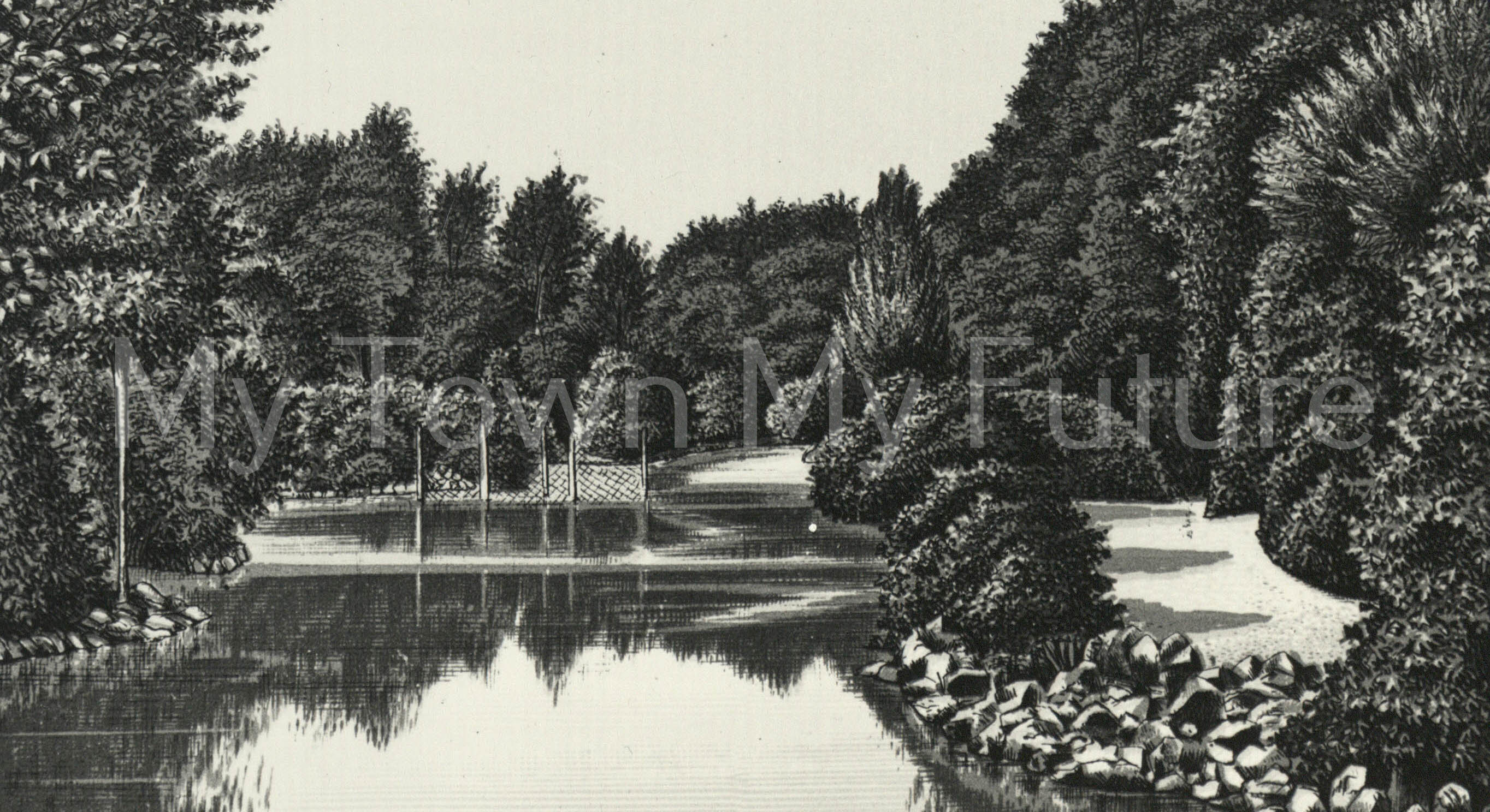 Drawing of a small Lake in Middlesbrough Park - Dept. of Planning - Cleveland County Council