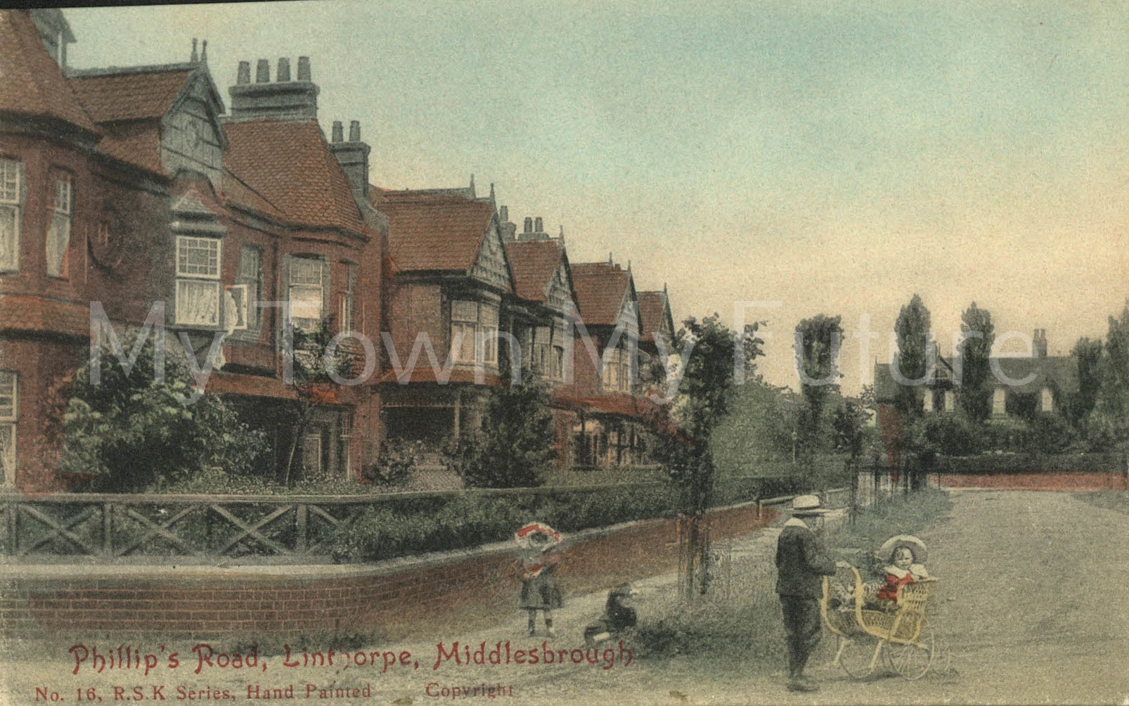Postcard style image of Phillip's Road, Linthorpe, Middlesbrough