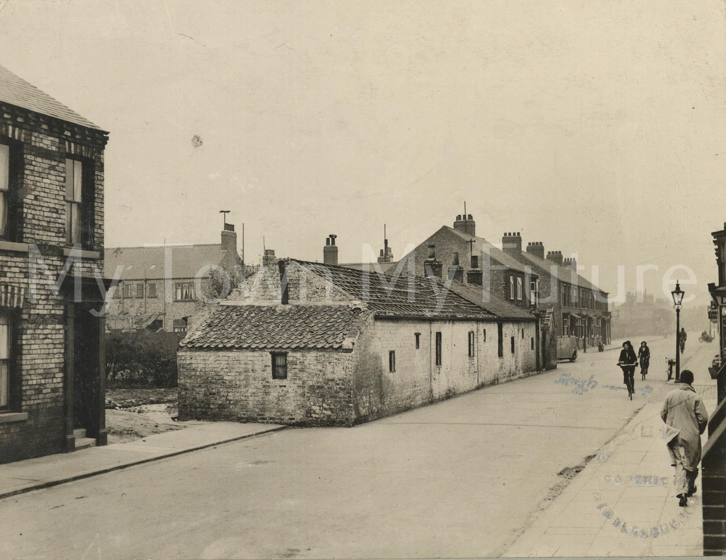 Demolition of old cottages. St Barnabas Road (1935)