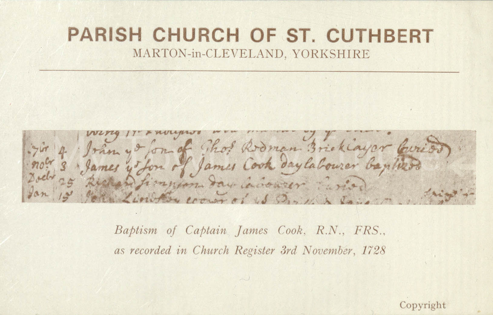 Captain Cook Baptism record on postcard