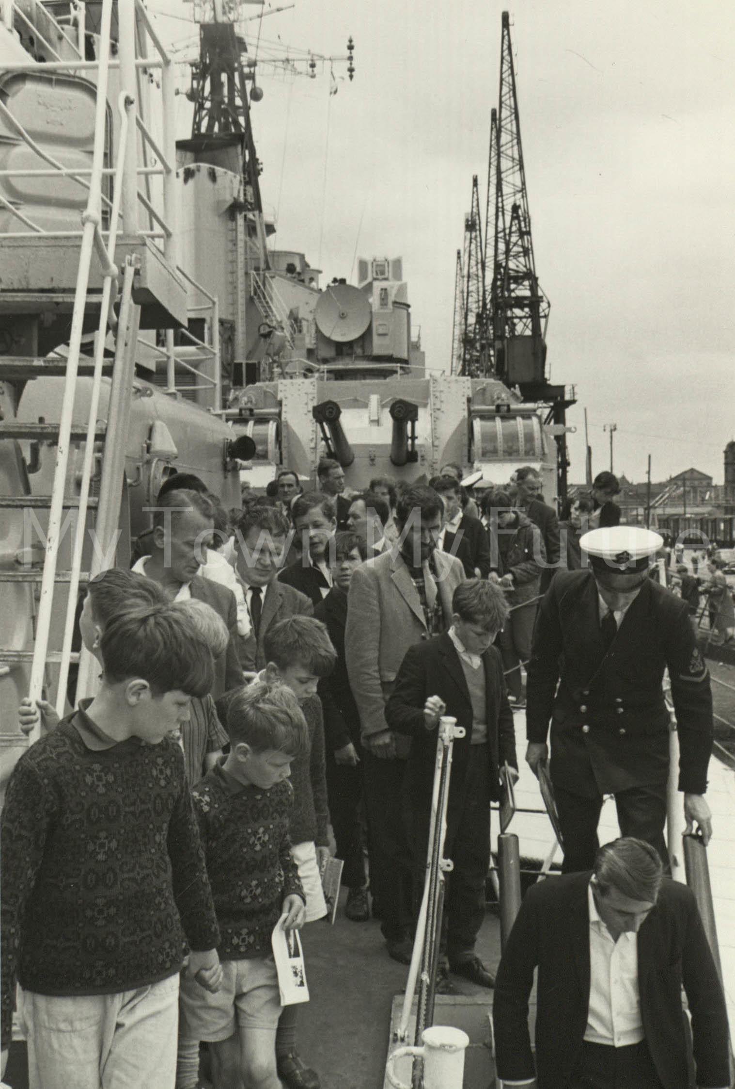 War Ships - HMS Tiger - Starboard Side looking forward