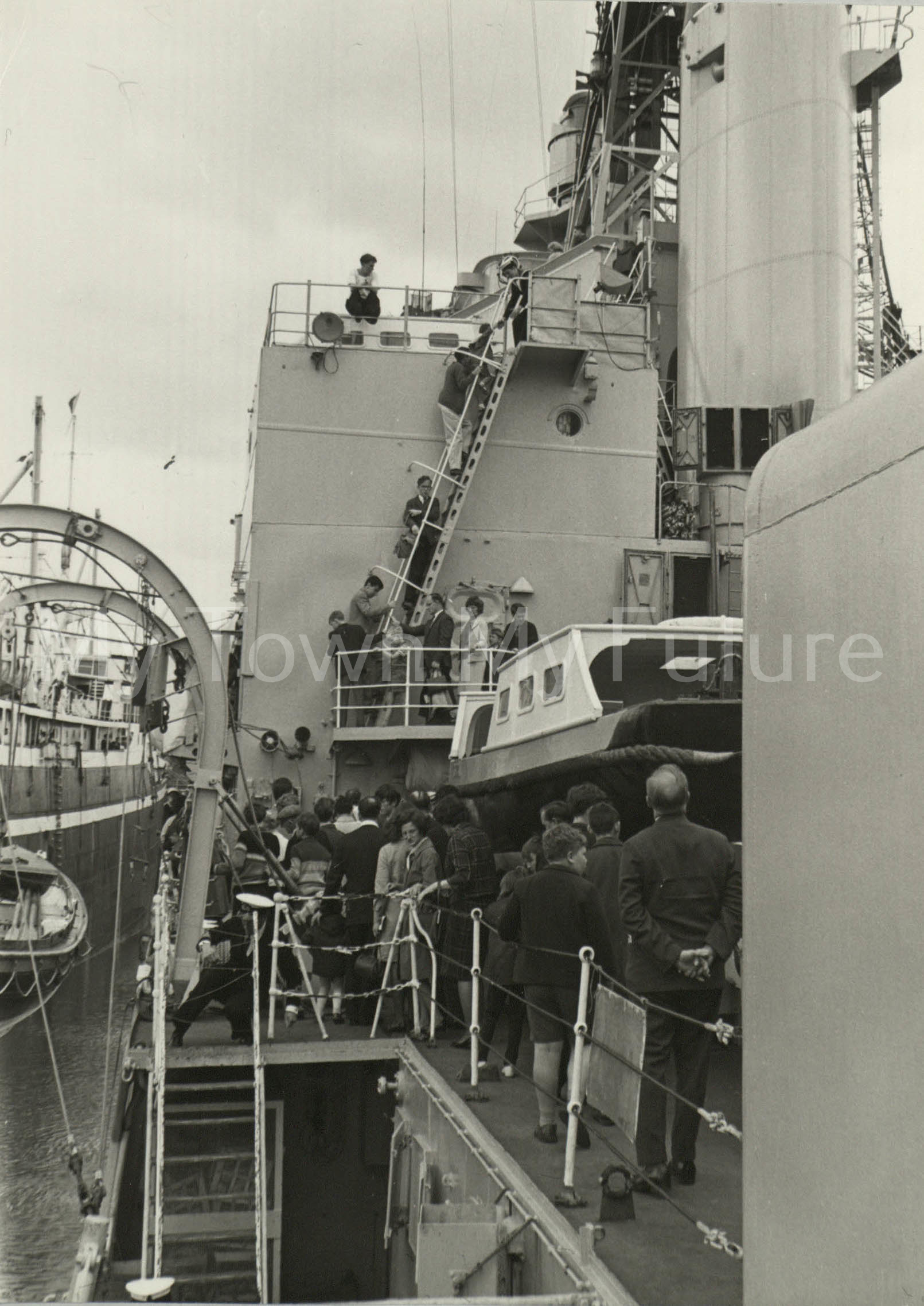 War Ships - HMS Tiger - Port Side fore funnel and mast on rhs
