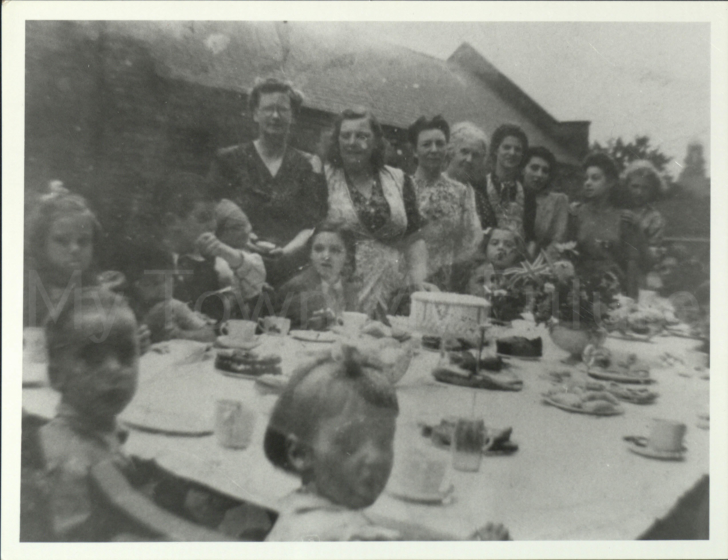 World War II - VE Day Party, Tennyson Street, June 1945, Mrs Owens - 5 Beeches Rise - Marton