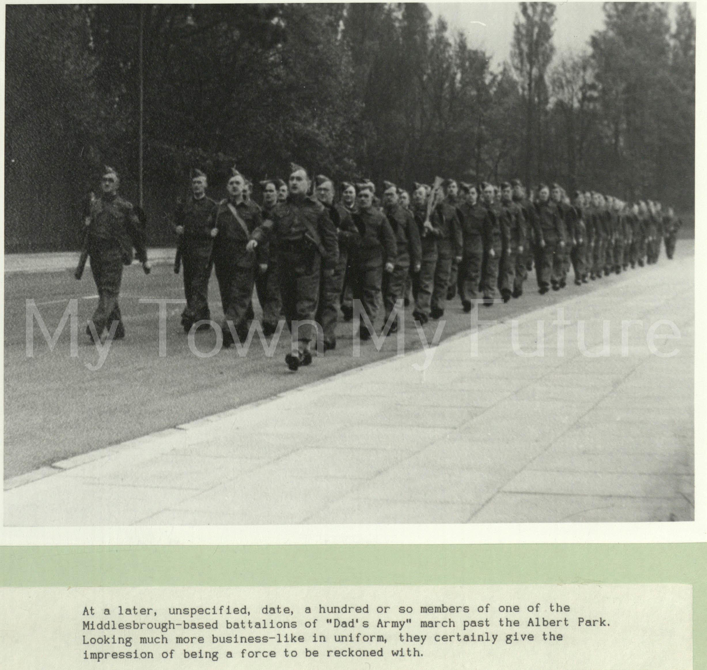 Home Guard - Marching outside Albert Park, Dorman Museum