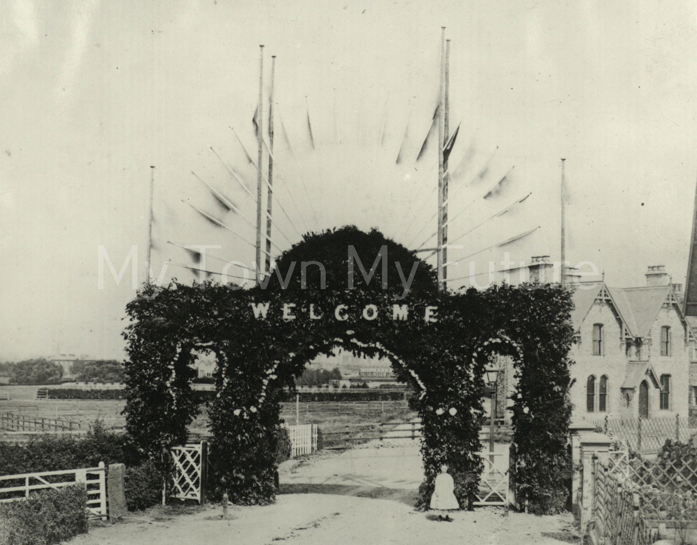 Triumphant arch over Marton Road at Grove Hill end for Albert Park, 11th August 1868, Opening of the new Albert Park, Dennis Wompra Photograher's, 86 Grange Road, Middlesbrough