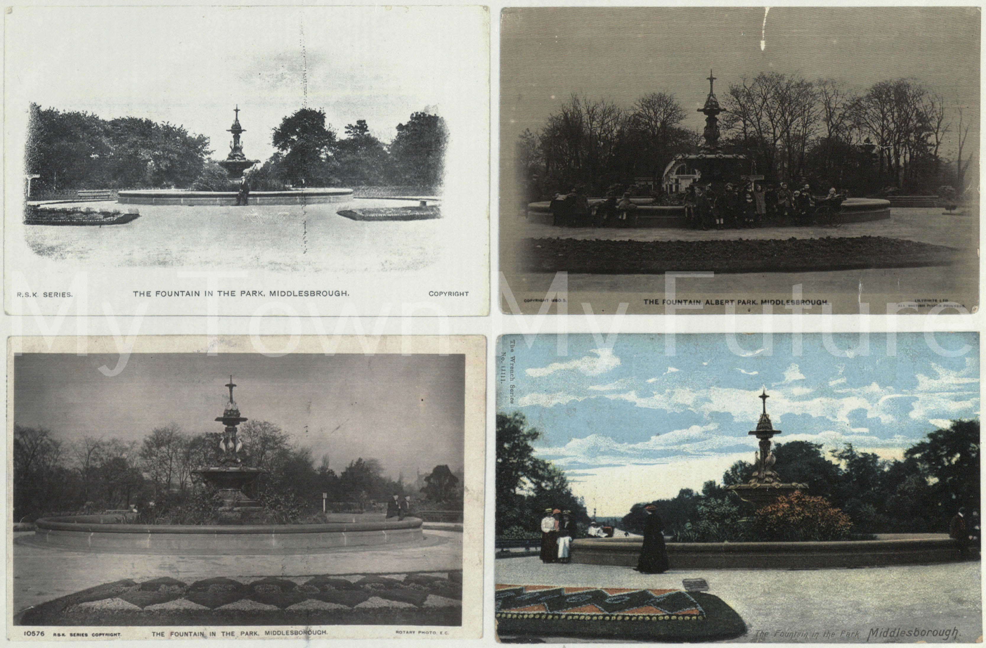 Albert Park - Four Fountain Images, left 2 RSk Series, top right Lilywhites Ltd