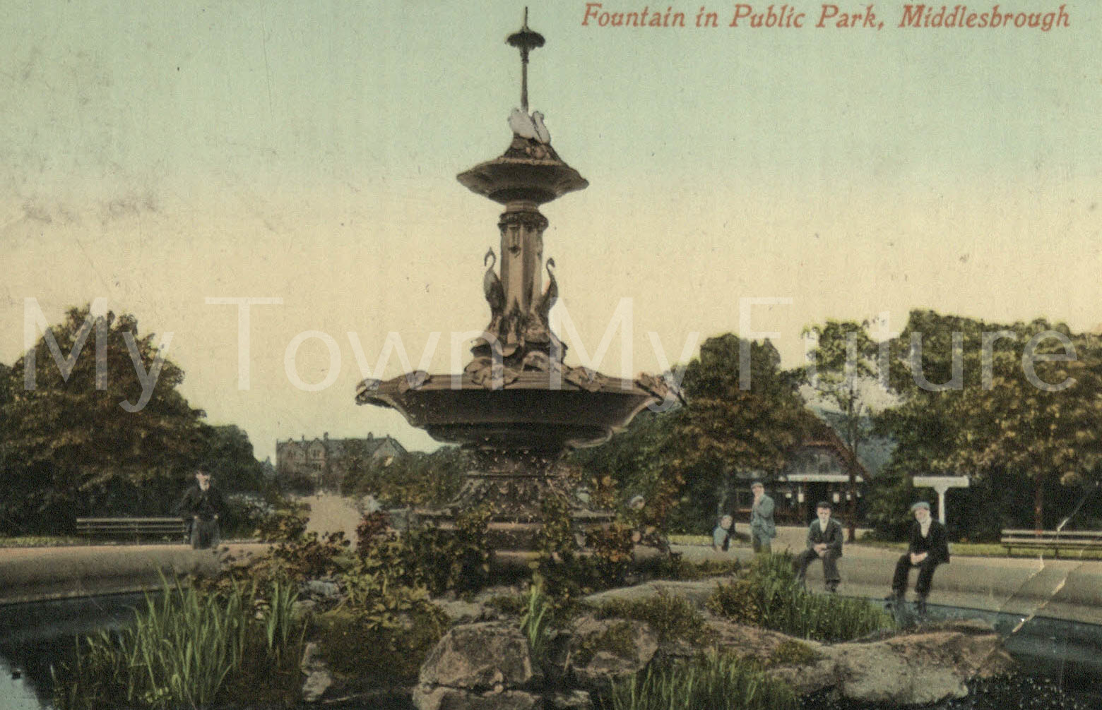 Albert Park - Fountain which was presented by Joseph Pease Esq. Postcard - to Mrs CH Lister - Valentine Series, Dundee