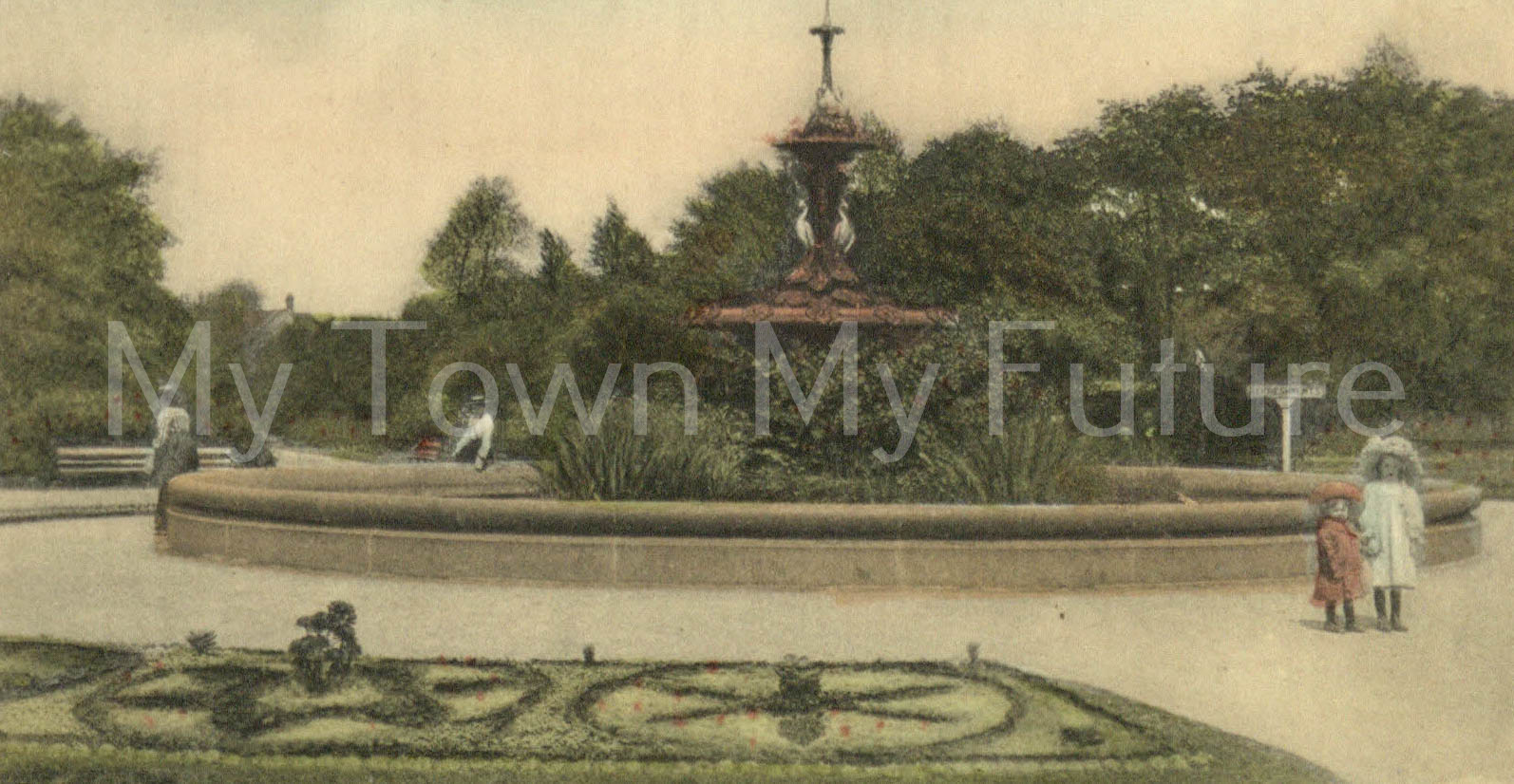 Albert Park - Fountain which was presented by Joseph Pease Esq. Postcard RSK Series