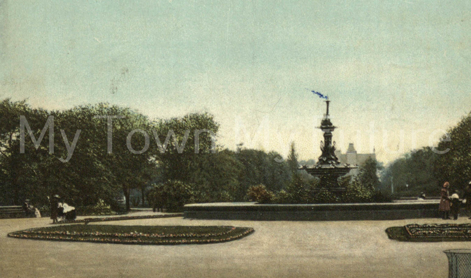 Albert Park - Fountain which was presented by Joseph Pease Esq. Postmarked 20th August 1907, Wrench - Series