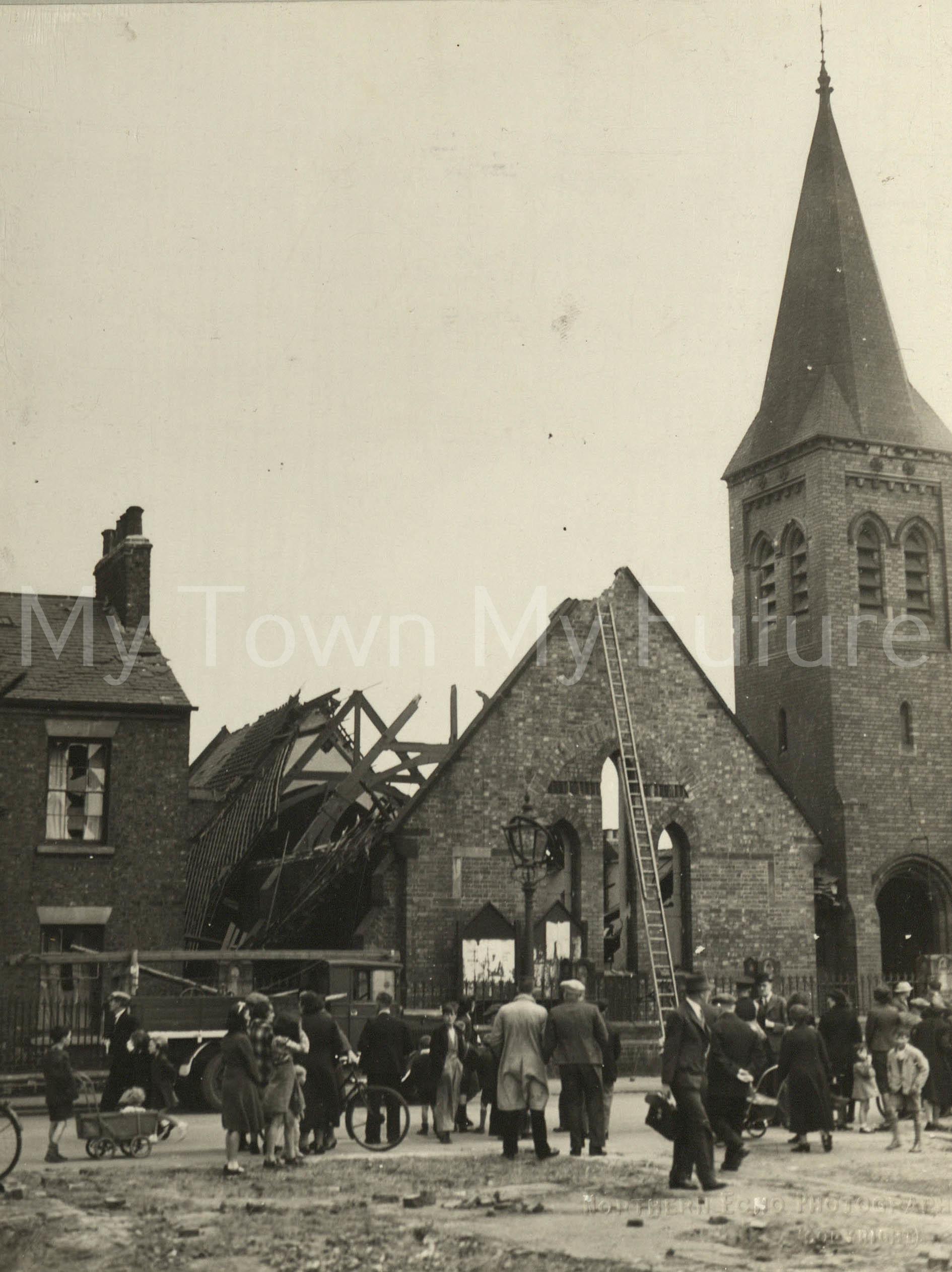 St Peter's Church - After Air Raid, 1940, Northern Echo Newspaper