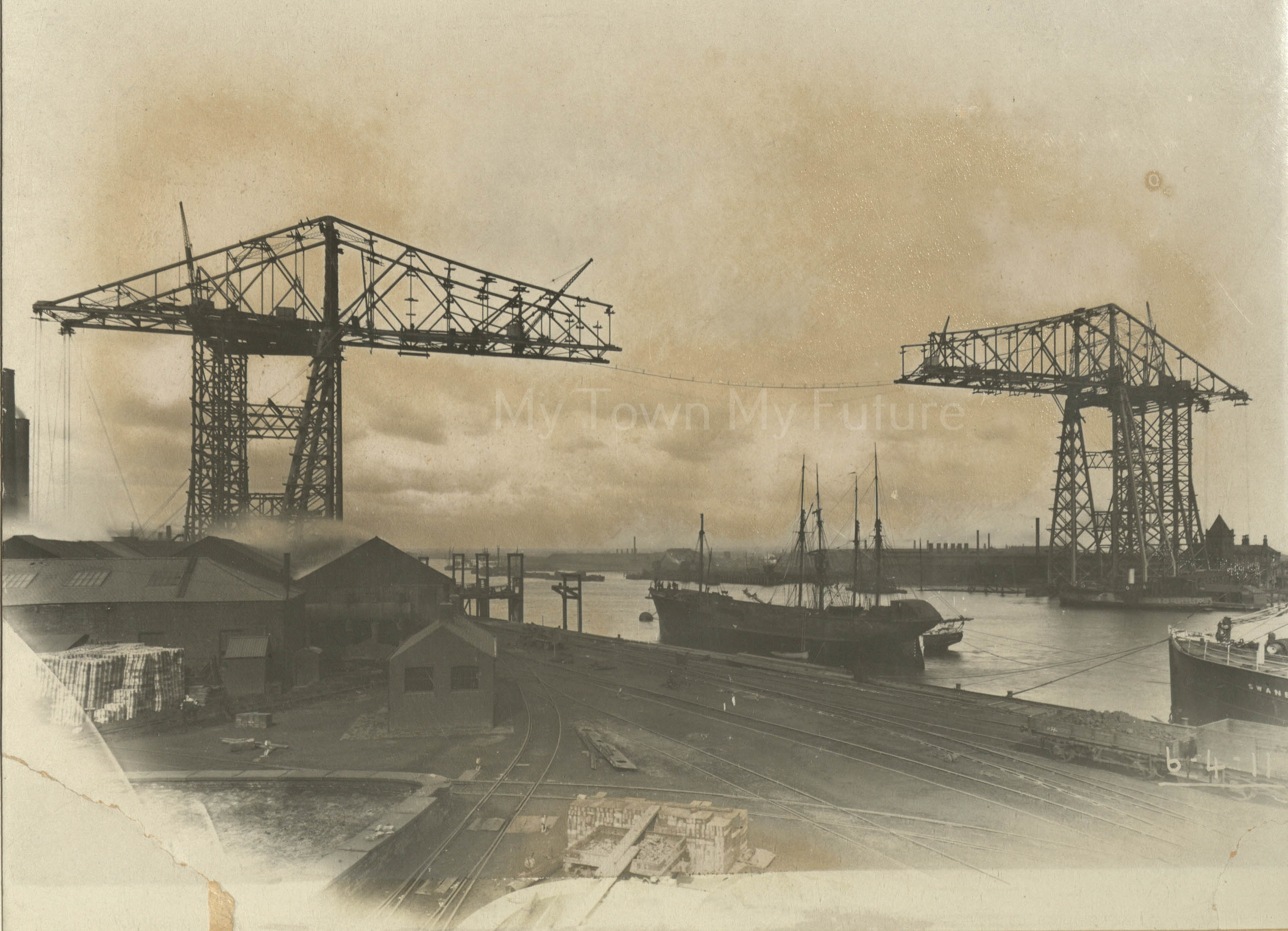 Transporter Bridge - Under Construction, 6th April 1911