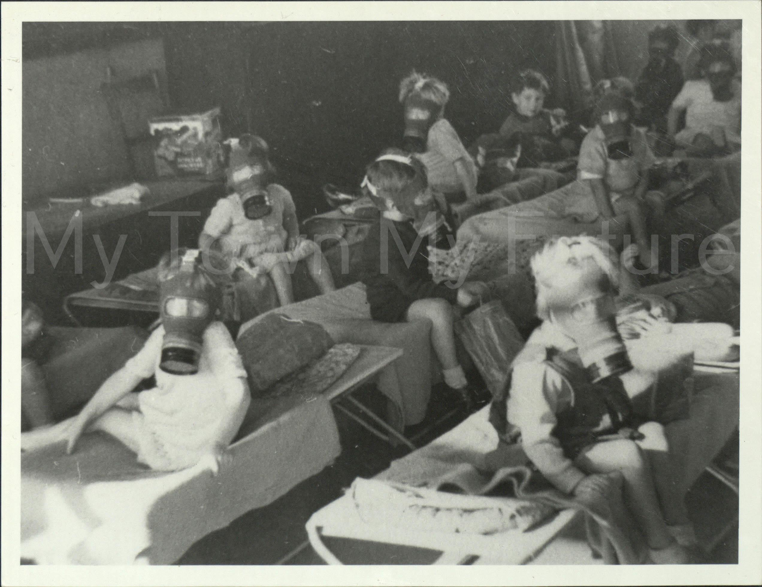 World War II Civillians Brambles Farm Children in Gas Masks 1938