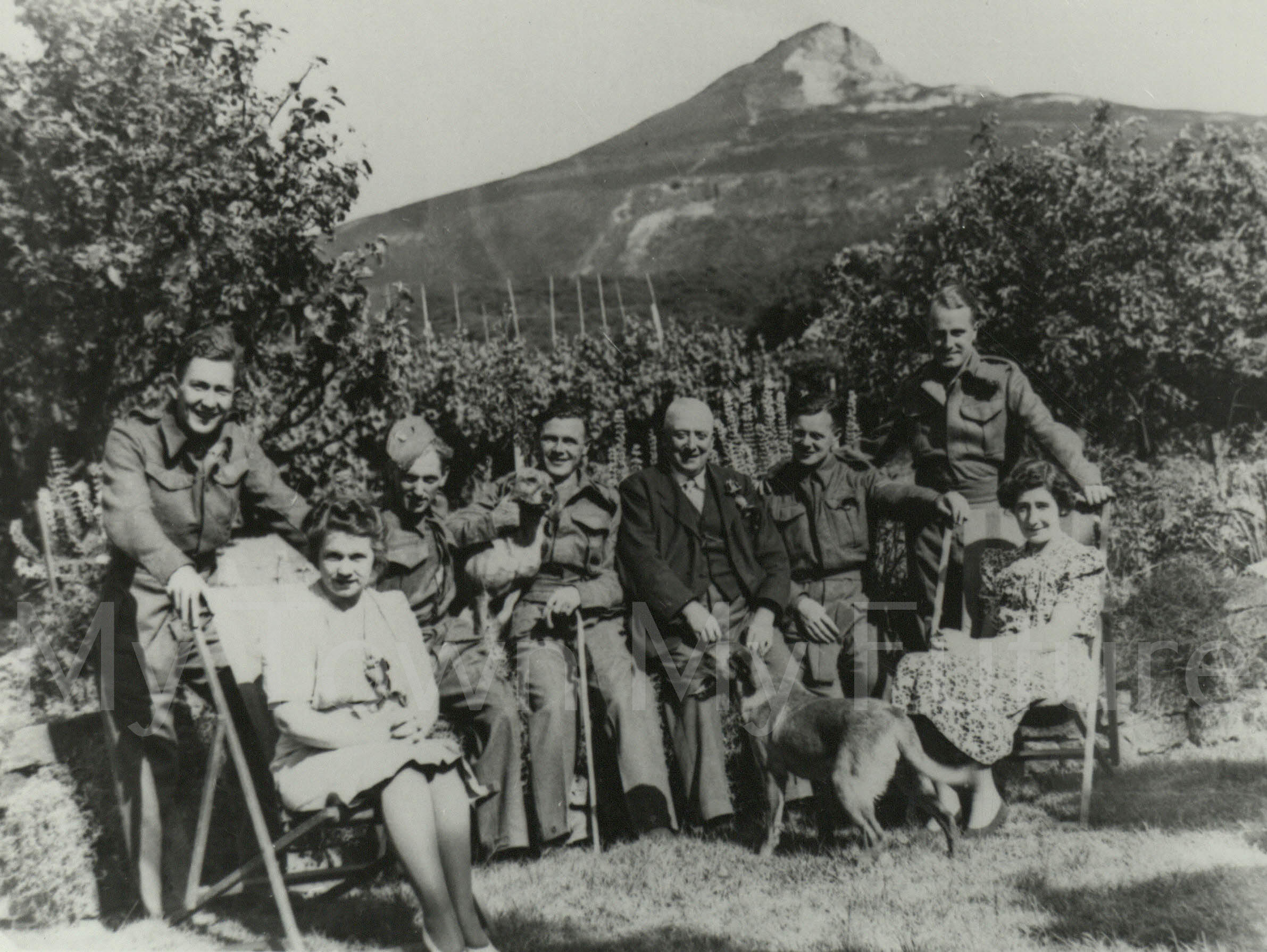 World War II Garden of Kings Rd, Newton under Roseberry Injured Soldiers day out 1944 Kings Road Nan Hatfield her Fatheri n Law and Mrs Tate