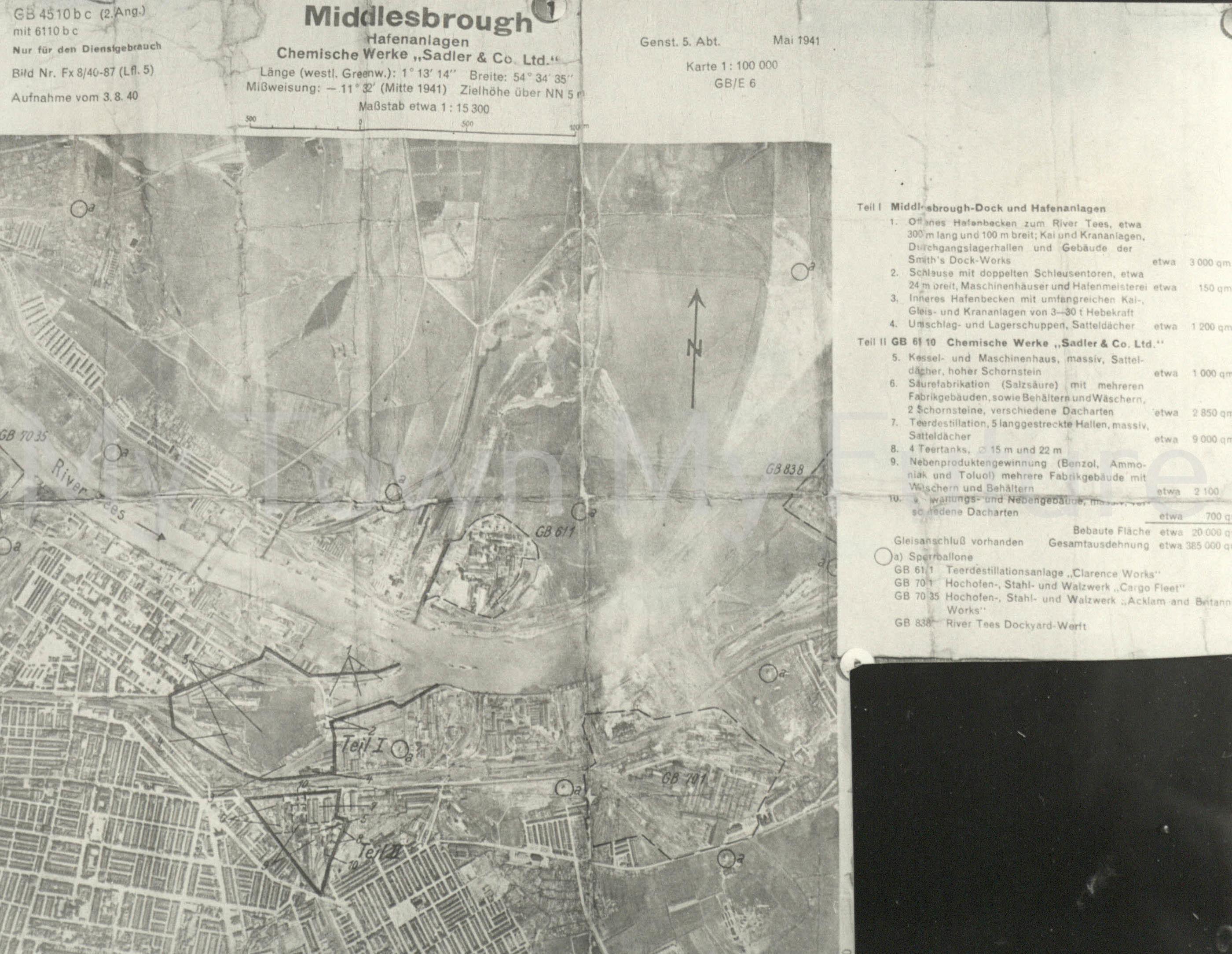 World War II German Aerial Reconnaisance Maps 3rd August 1940