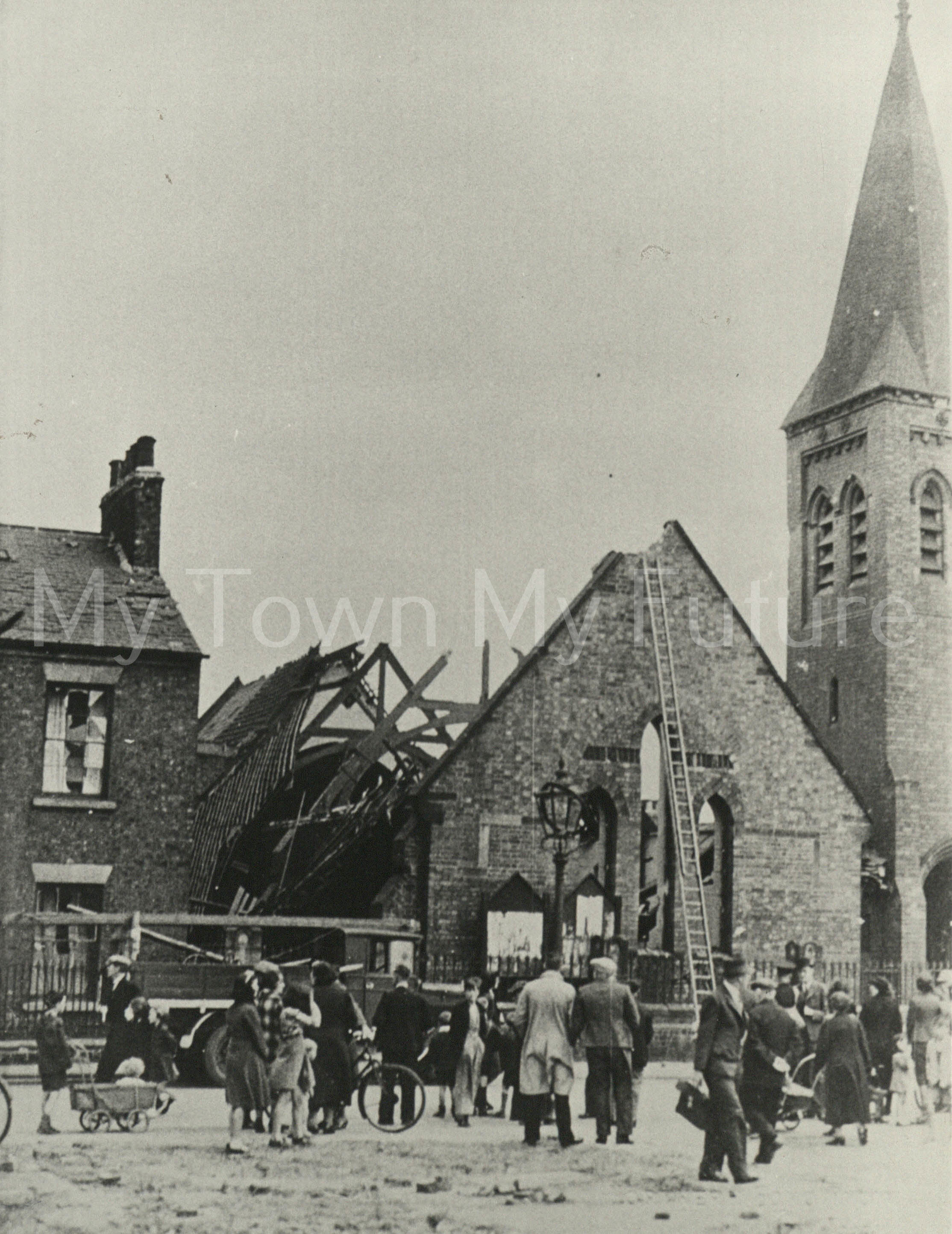 Bomb Damage St Peter's Church St Hilda's Area Middlesbrough After raid of June 1940 Church was destroyed then demolished