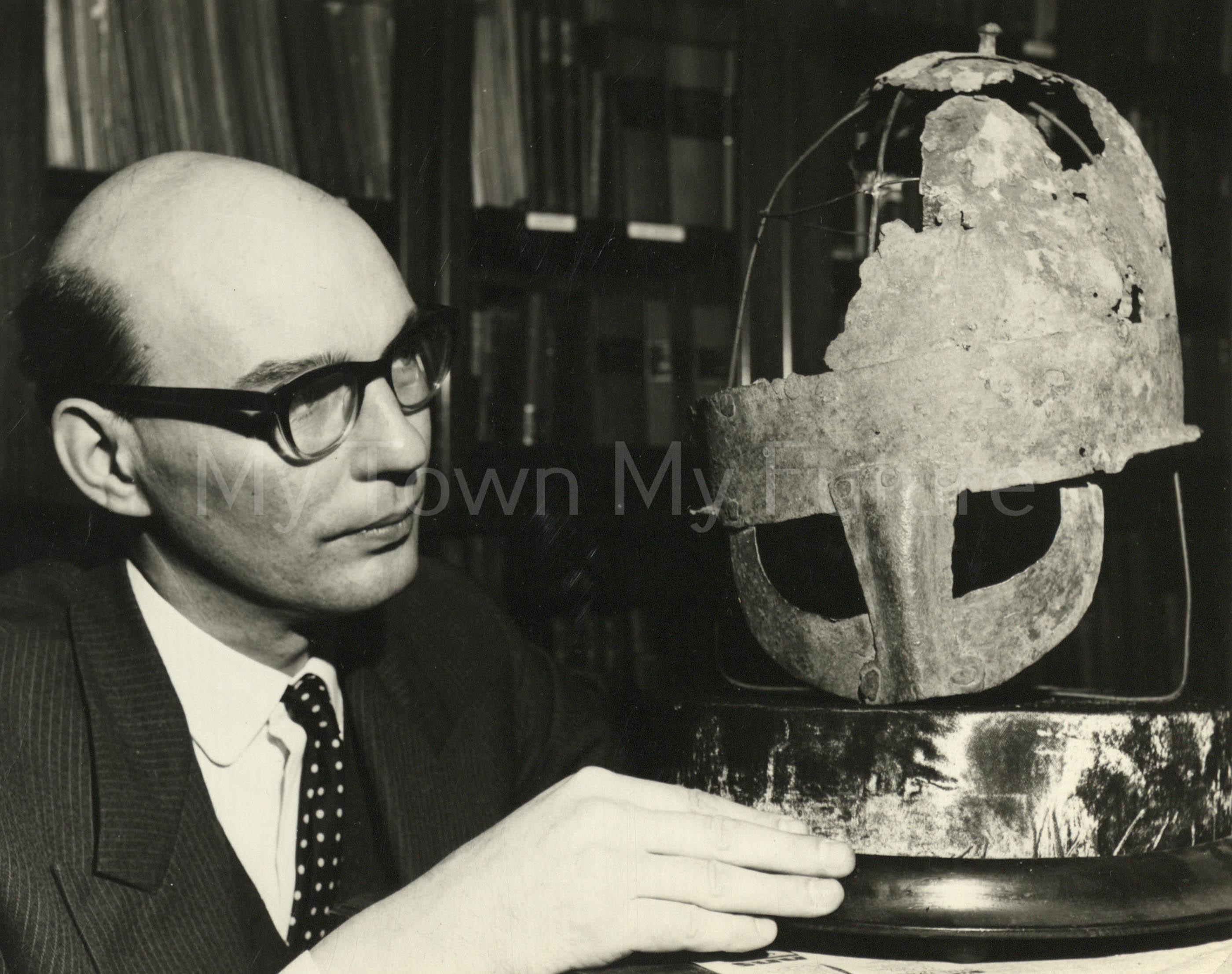 Dorman Museum Curator Mr GG Wilson & Norman Helmet Dated 1150, 1966, Arnold Kidson