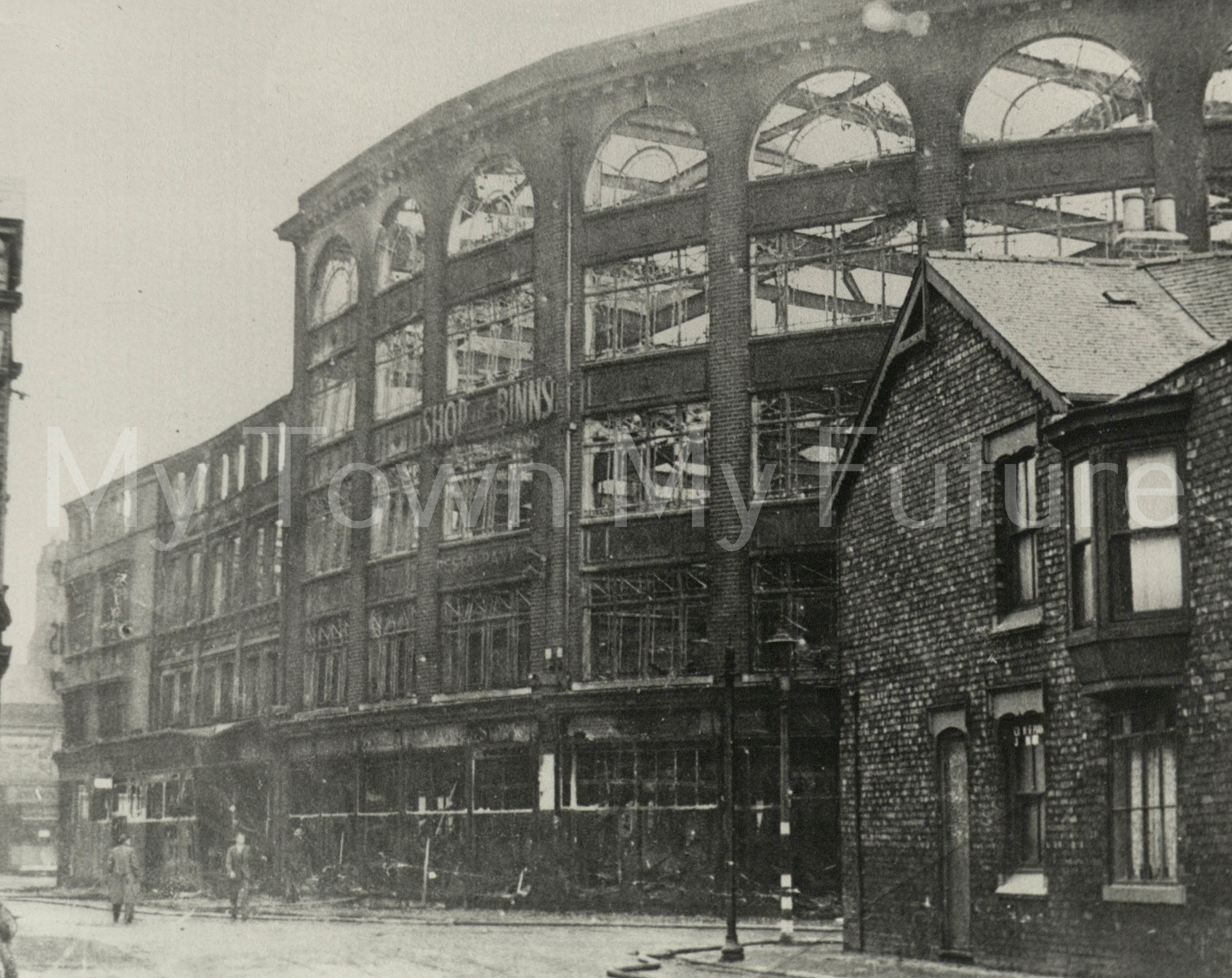 Newport Road Fire damage to Binn Store caused by arson c1941