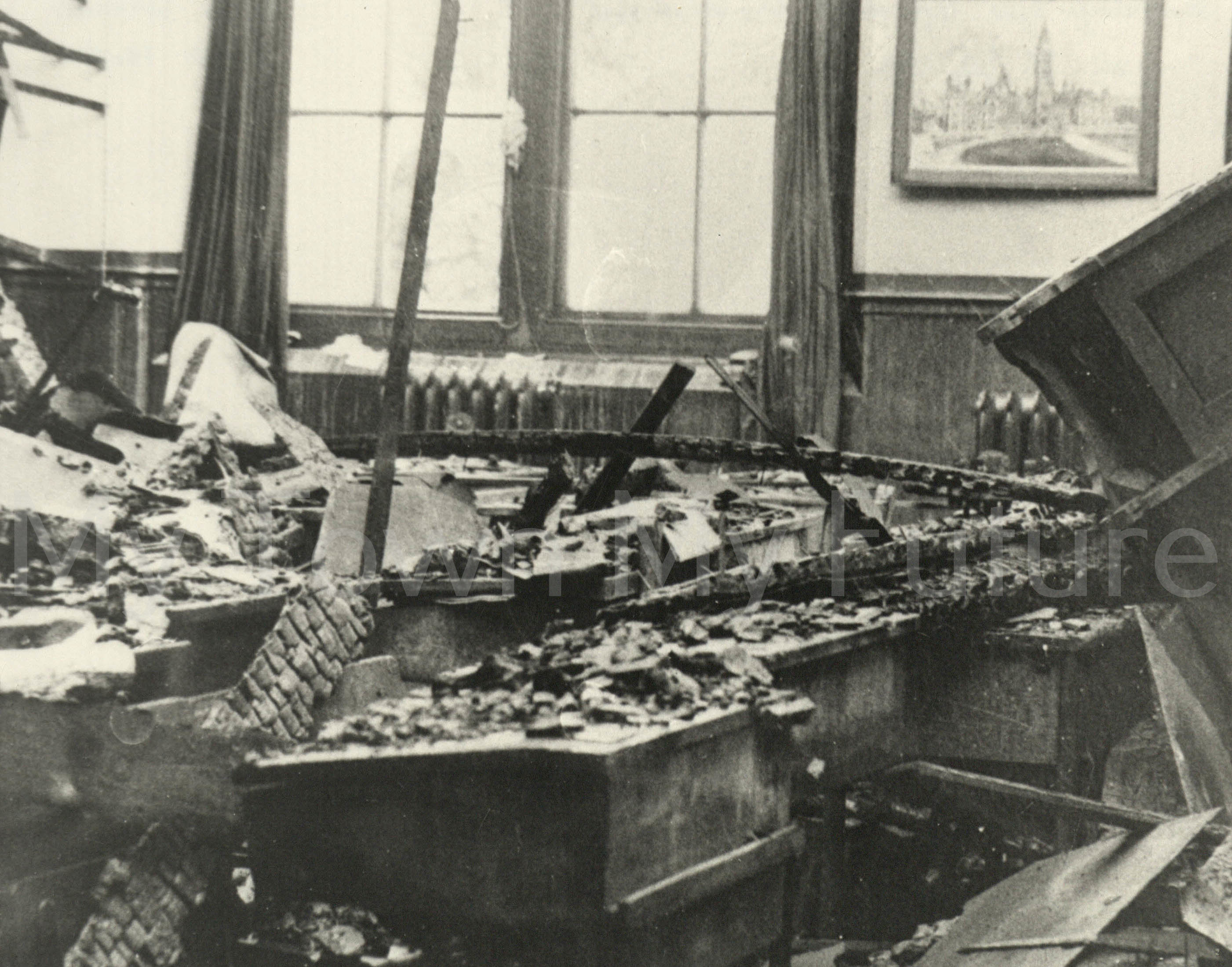 Bomb Damage - Middlesbrough Girls School, After raid on 7th-8th July 1942