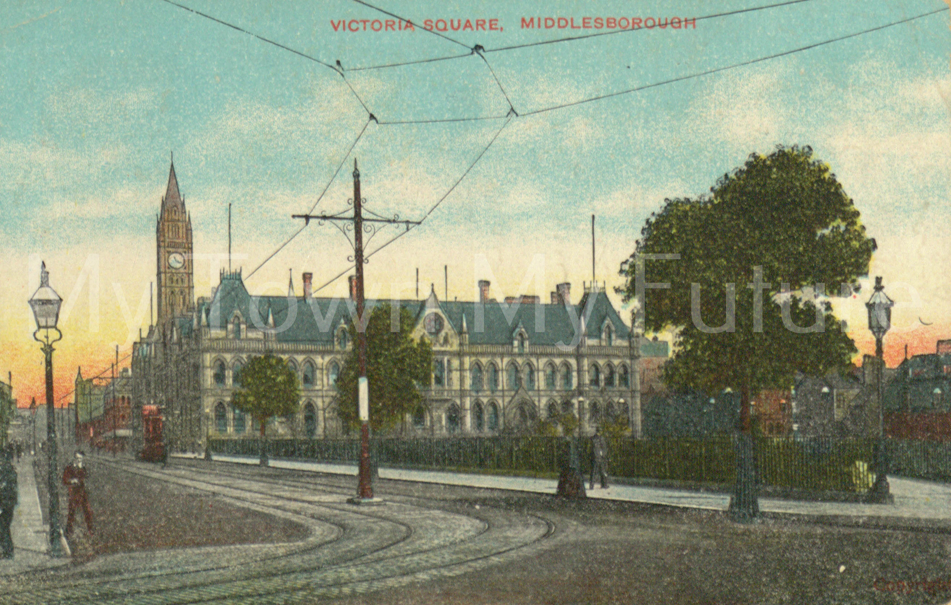 New Town Hall Postcard to Miss Matthews Postmarked 20th July 1908