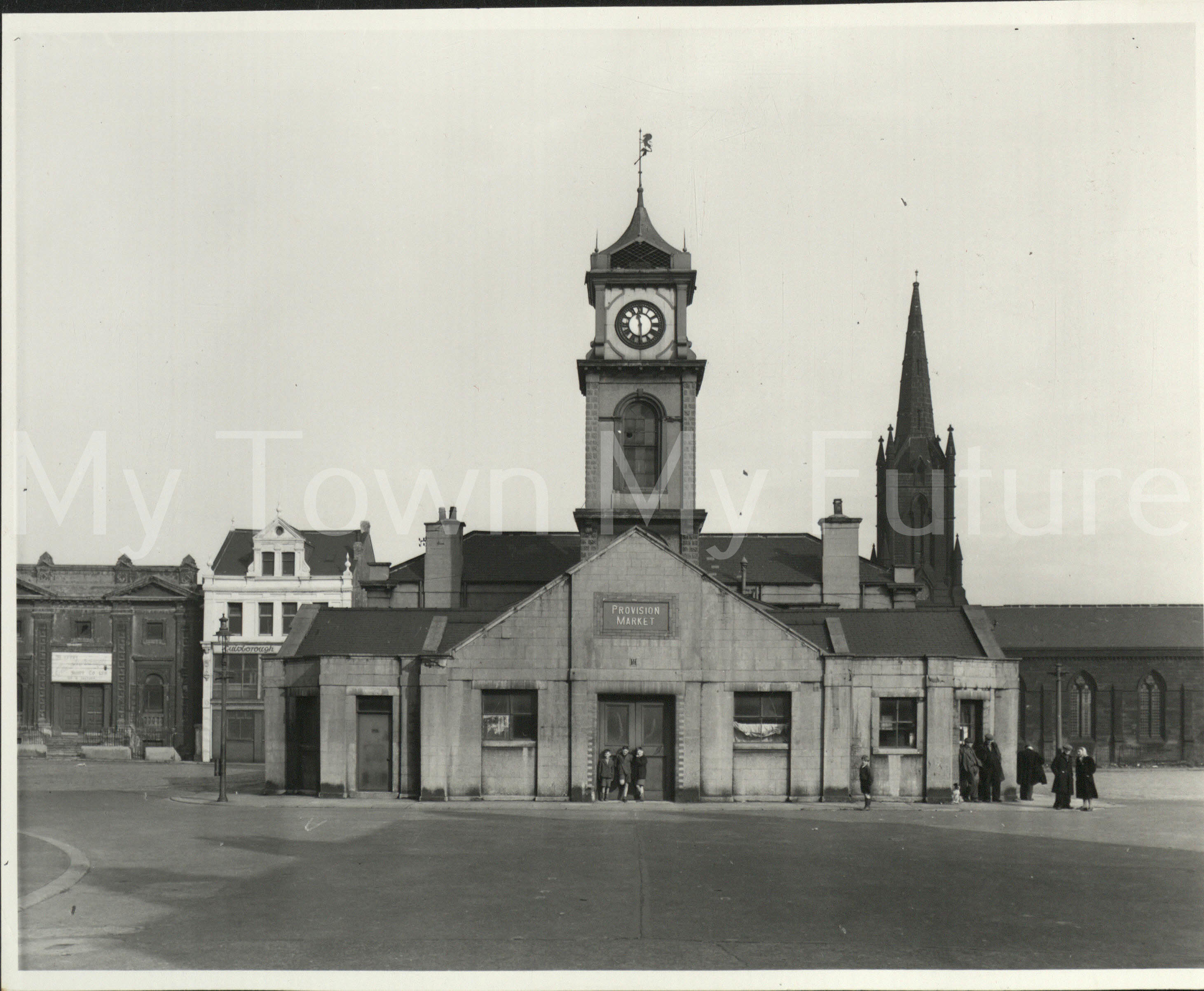 Old Town Hall (Building completed September 1846) - Market Place, St Hilda's Church just behind - Dept. of Planning - Cleveland County Council