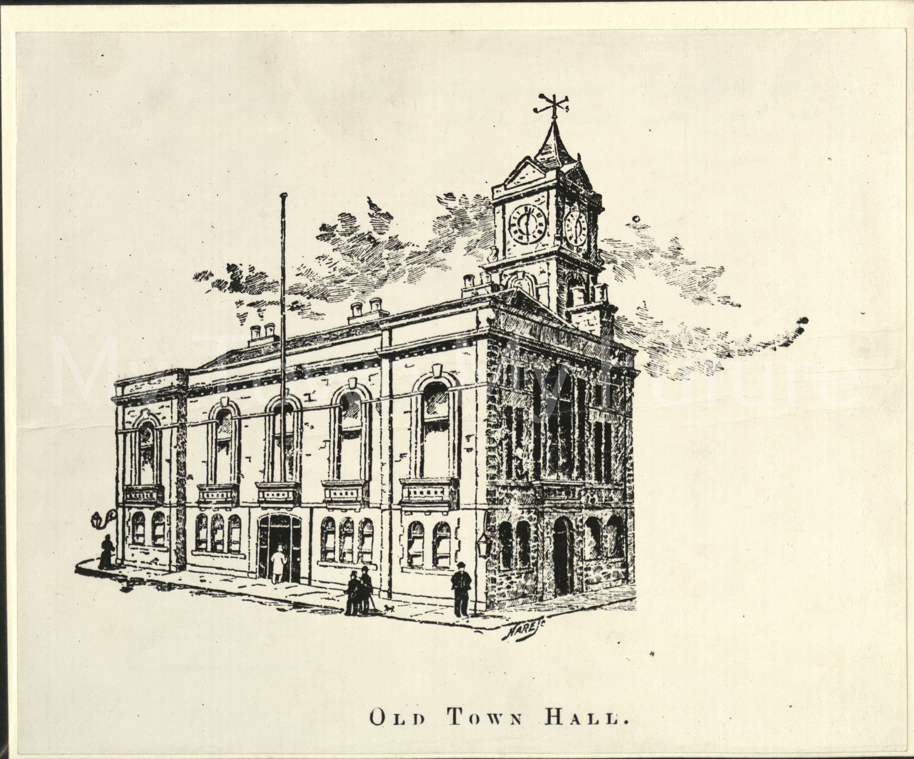 Old Town Hall (Building completed September 1846) - Sketch