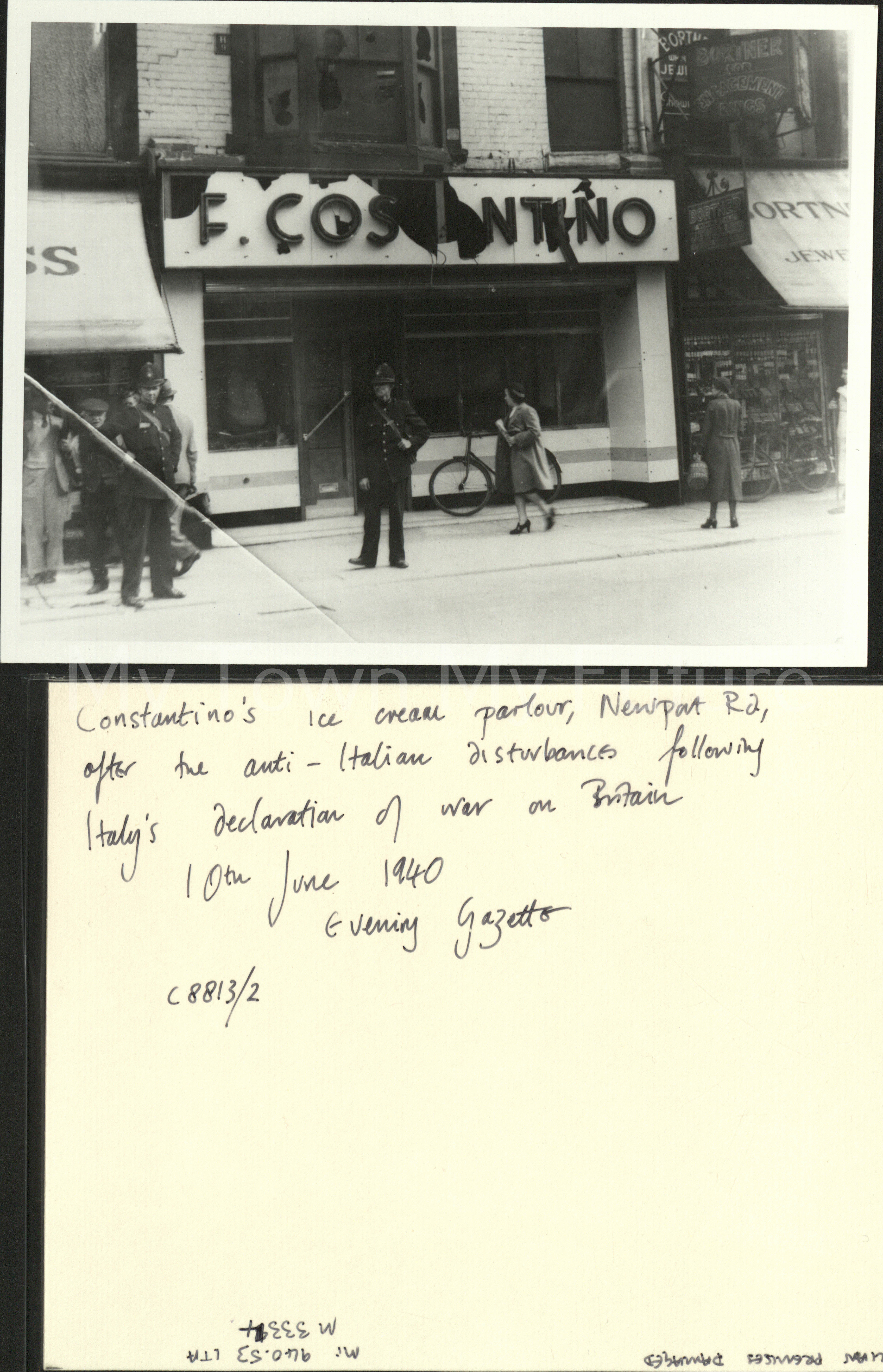 Constanio's Ice Cream - Newport Road - Anti-italian - Disturbances, 10th June 1940 - After Italy Declaration of War against the Allies - Evening Gazette