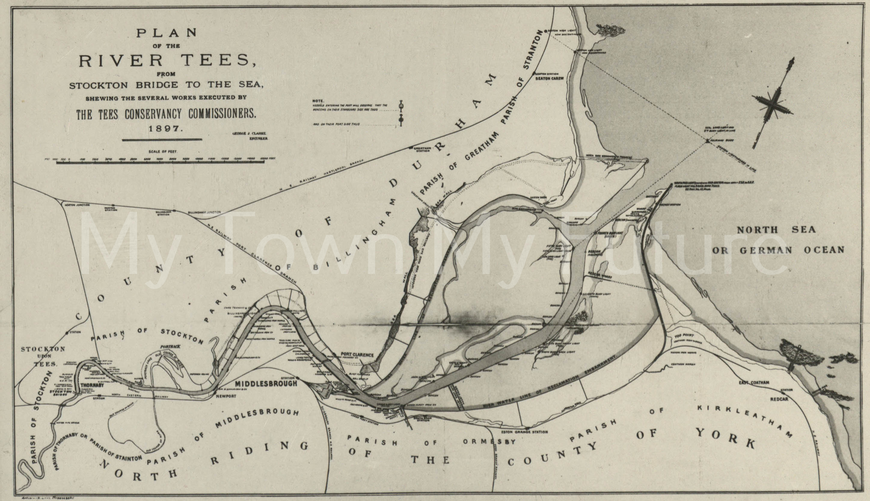 Chart Of River Tees 1897