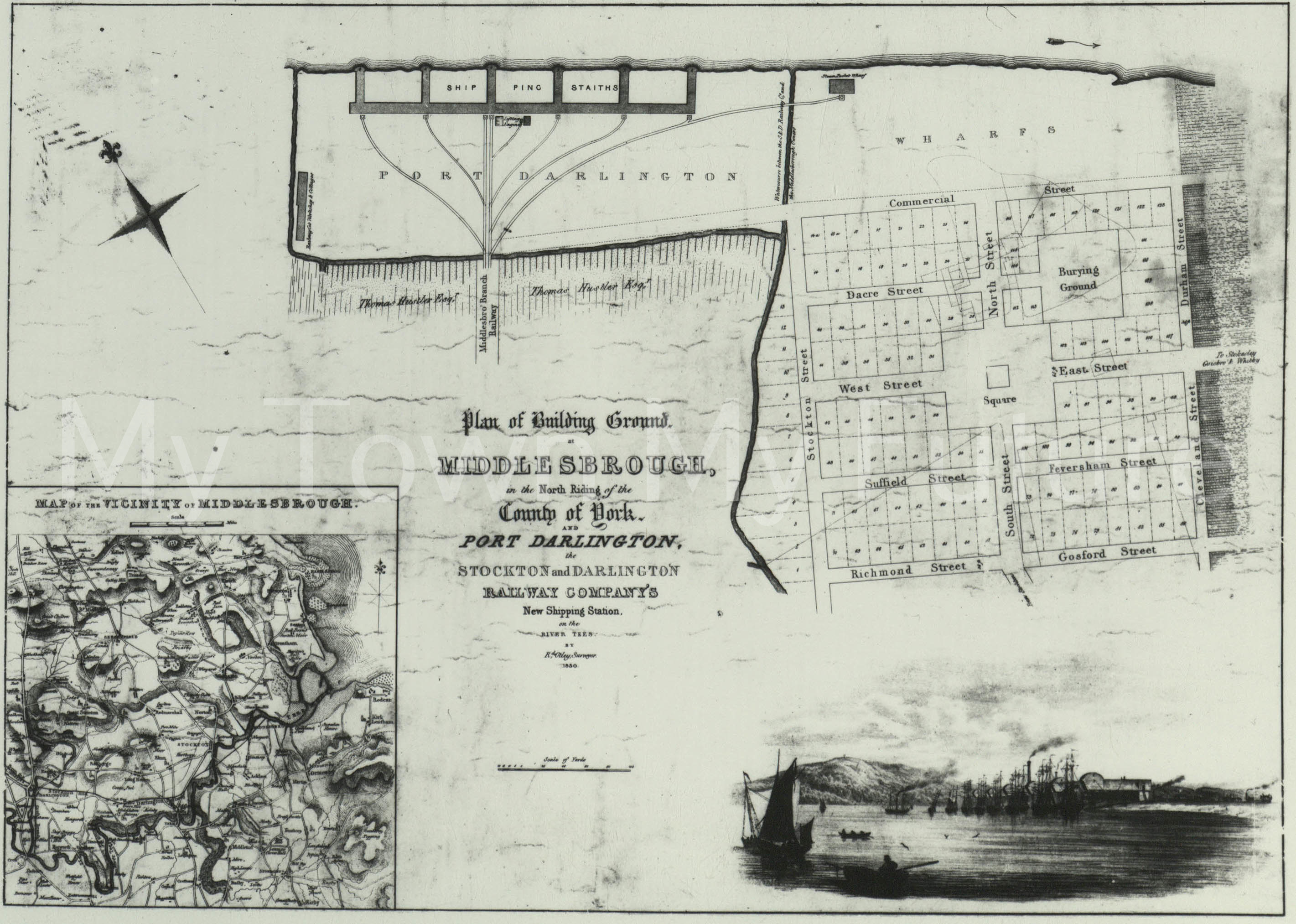 Map of Middlesbrough 1850.