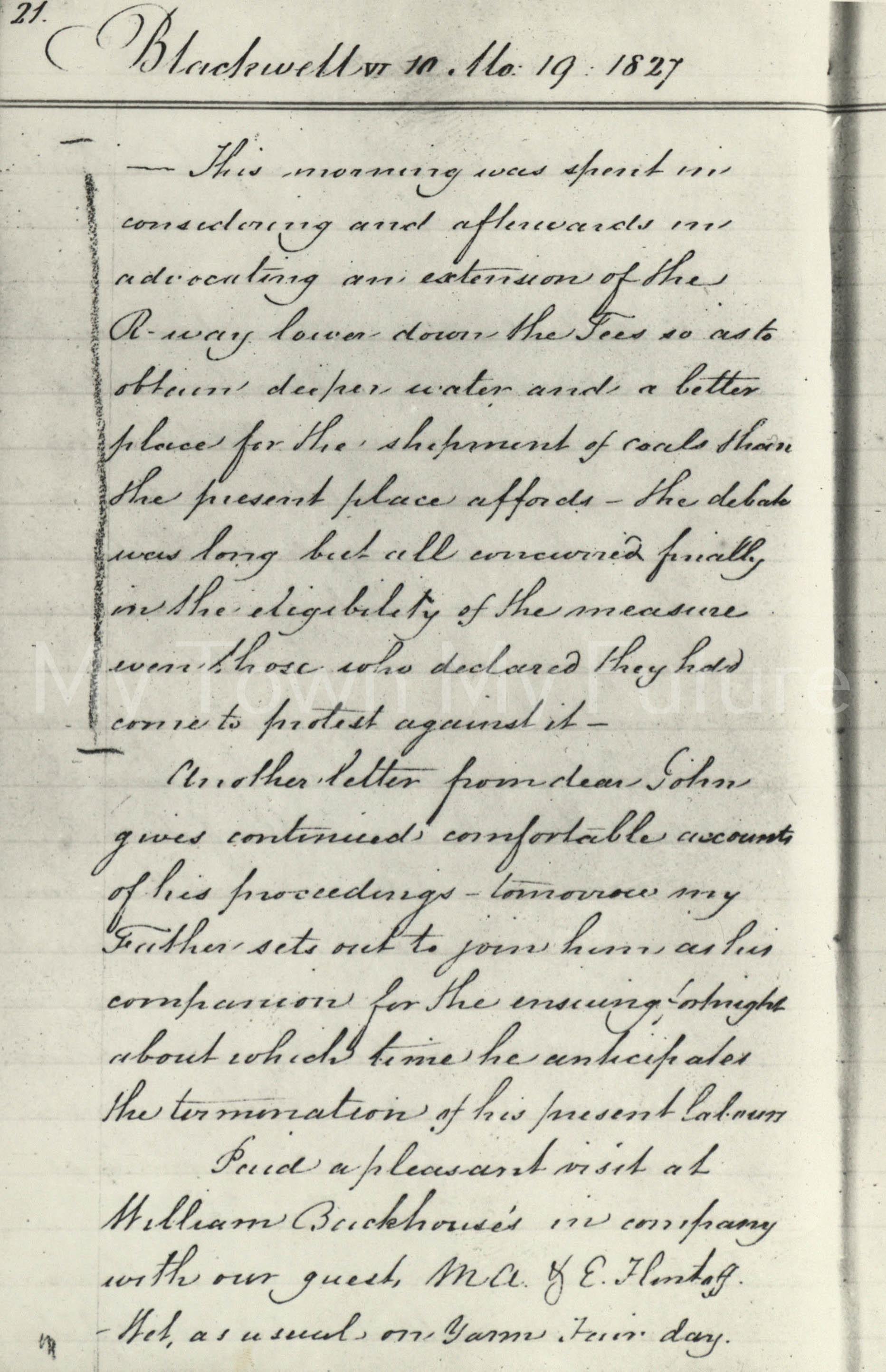 Joseph Pease Document, 1827