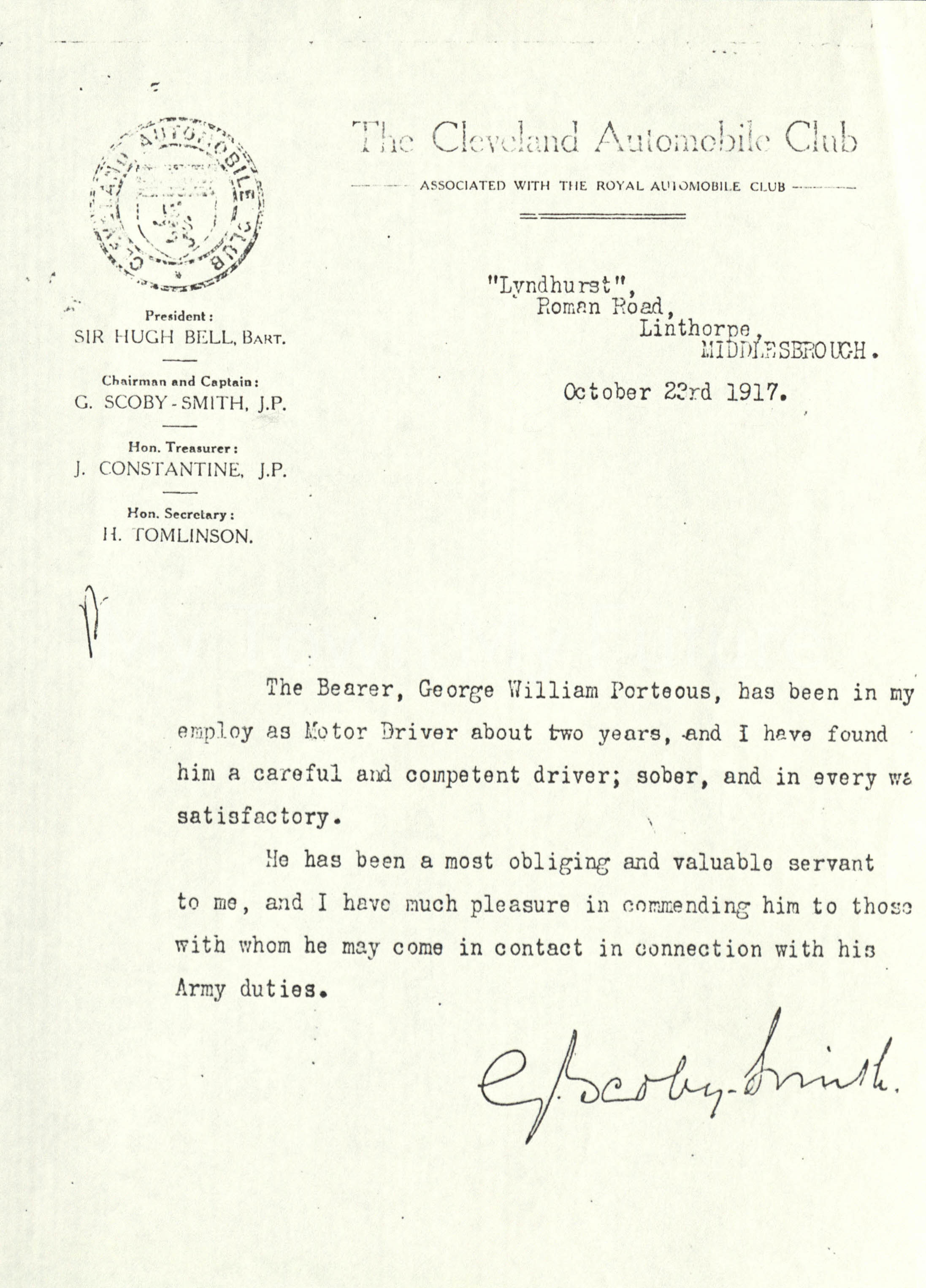 George Scoby Smith, Letter - 23rd October 1917