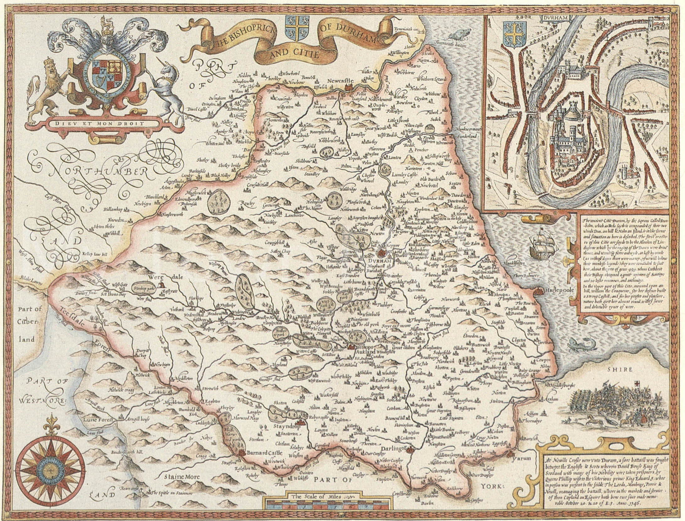 Map Of North East England, 1611, Cleveland County Museum