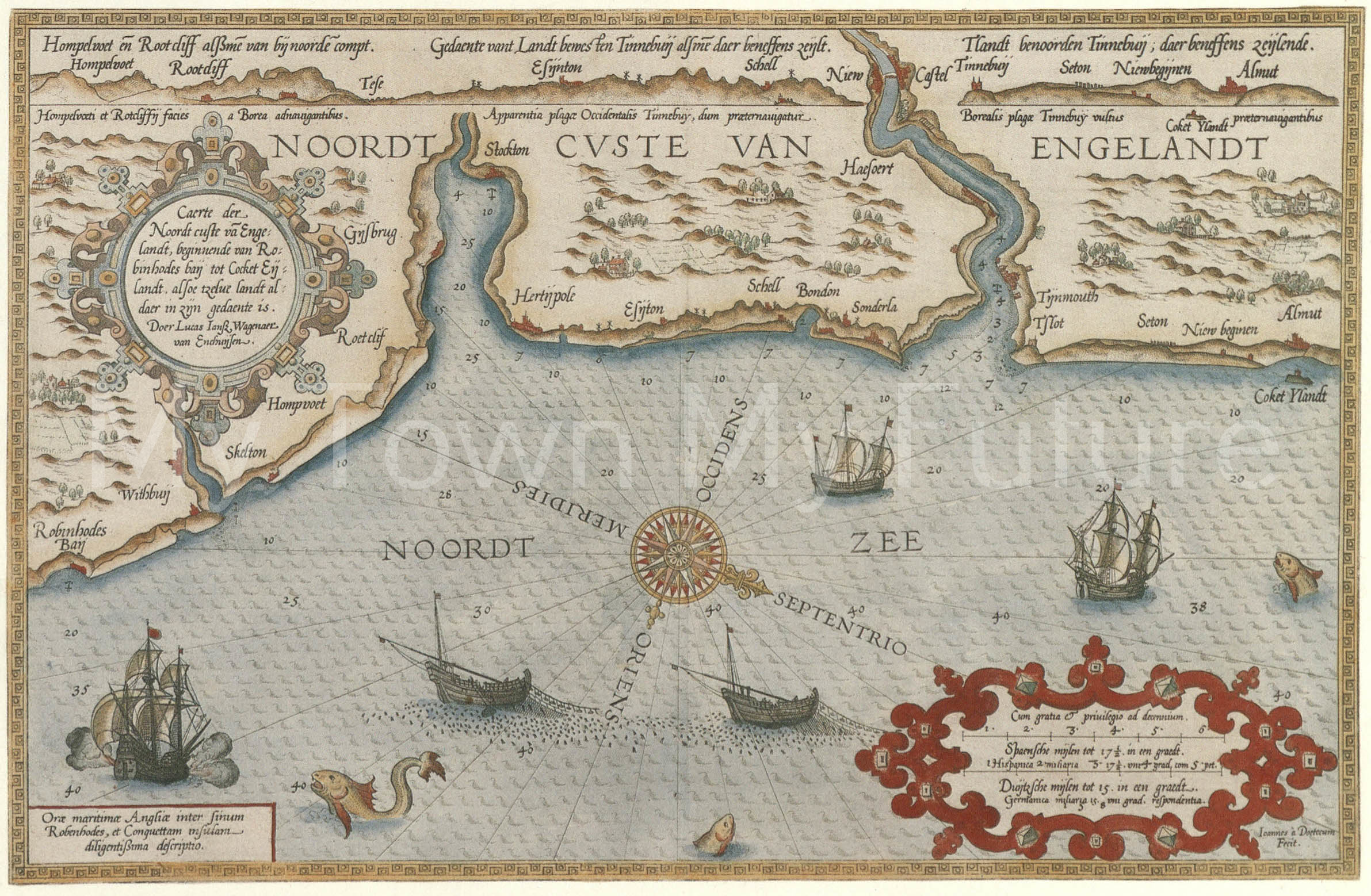 Map Of North East England Coast, 1584, Cleveland County Museum