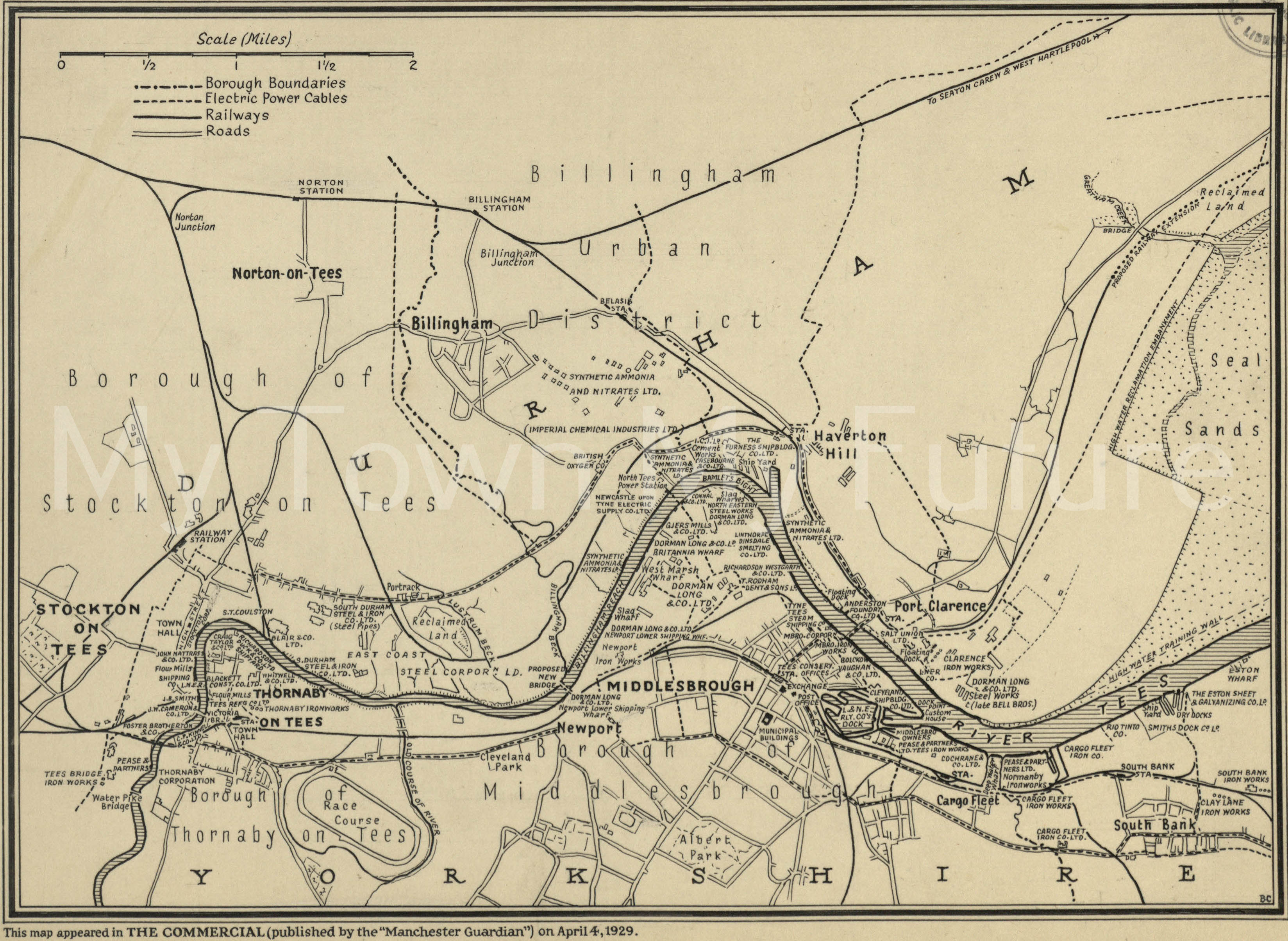 Map Of Middlesbrough & Stockton