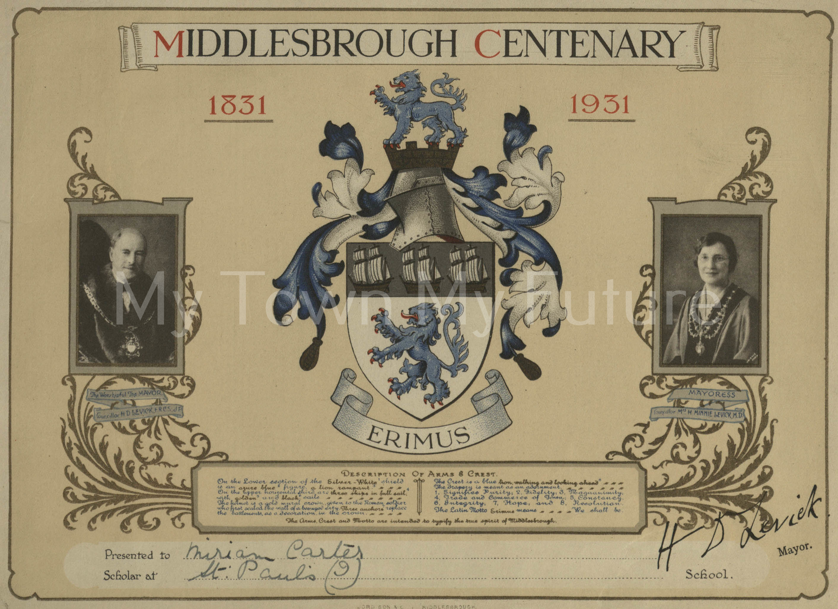 Middlesbrough Centenary, 1931, Marian Flint Collection
