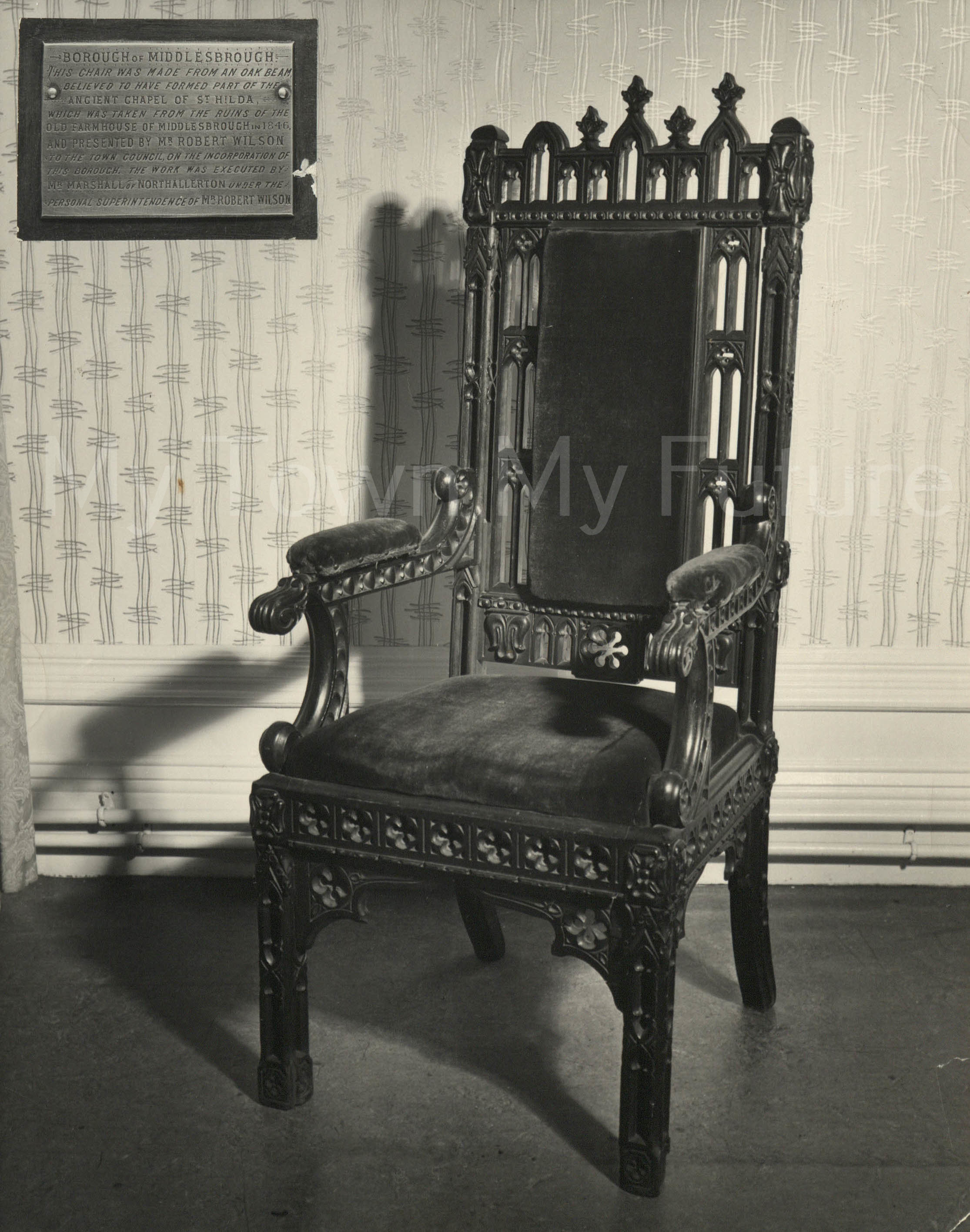Mayor Of Middlesbrough Chair Made From Priory Timber - Borough Engineers Department